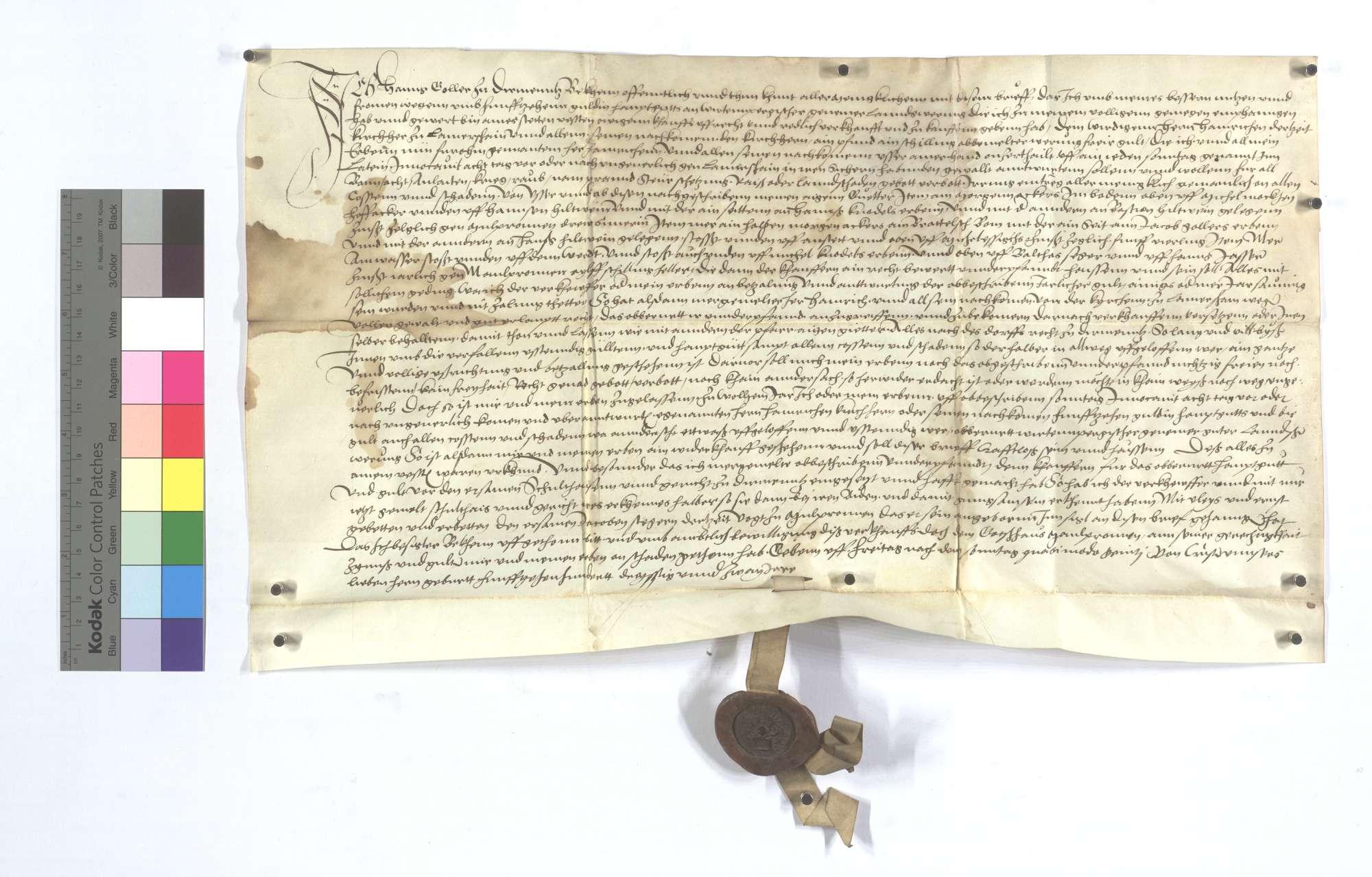 Fertigung Hans Gollers von Dürrmenz gegen den Pfarrer zu Lomersheim um 1 Pfund 1 Schillingheller jährliche ewige Gült aus seinen Gütern dort., Text