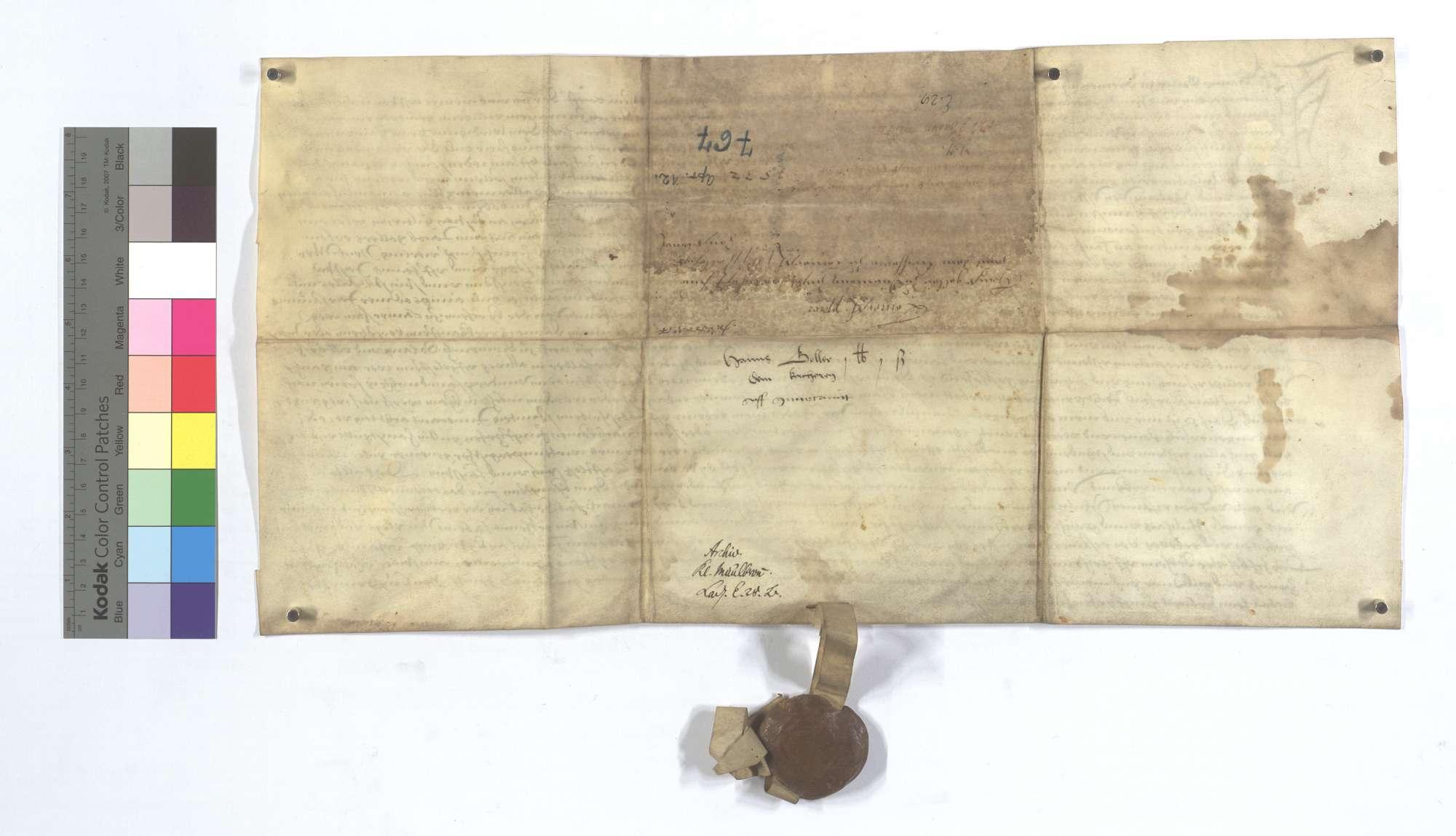 Fertigung Hans Gollers von Dürrmenz gegen den Pfarrer zu Lomersheim um 1 Pfund 1 Schillingheller jährliche ewige Gült aus seinen Gütern dort., Rückseite