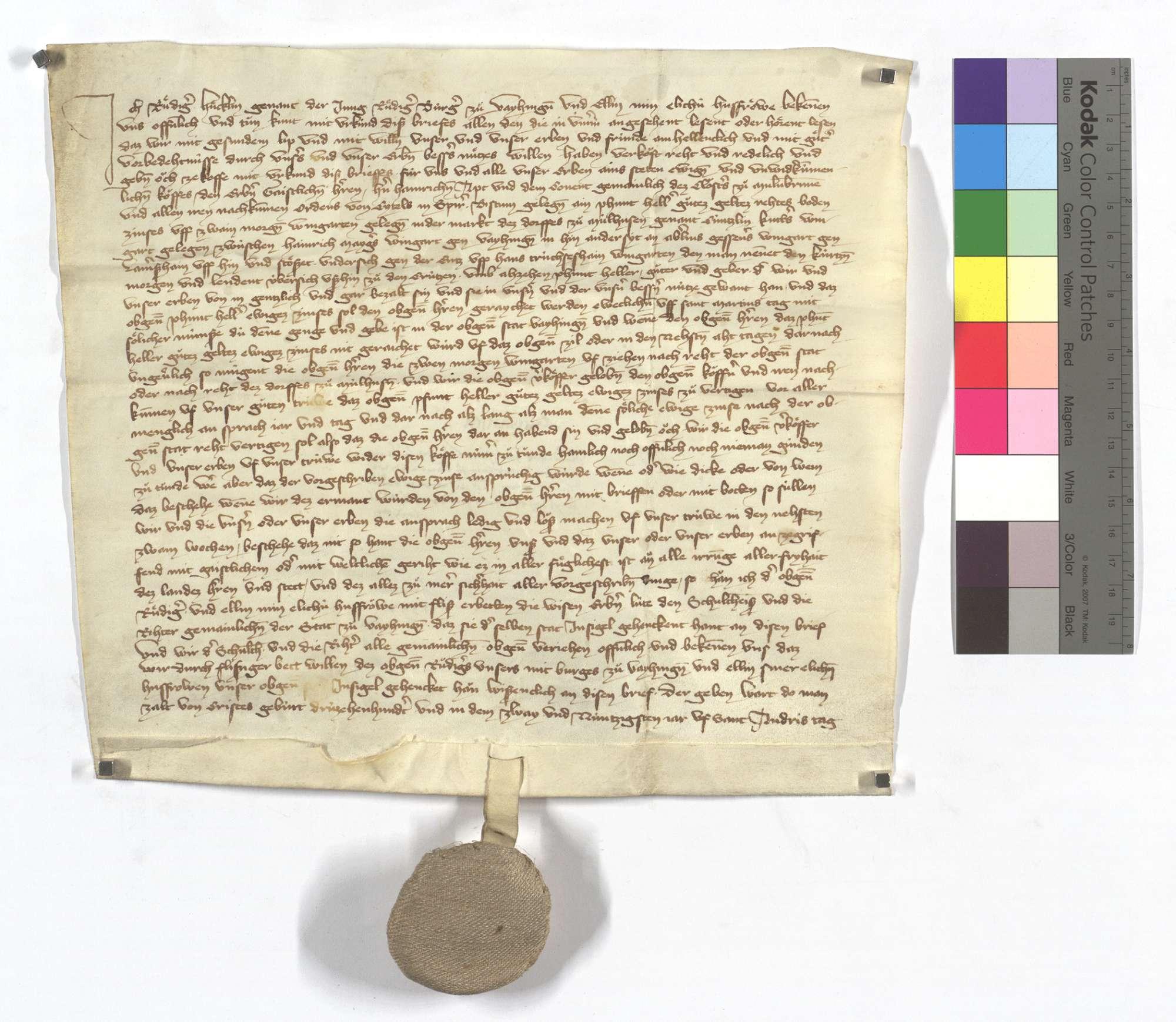 Rüdiger Hücklin von Vaihingen verkauft dem Kloster Maulbronn 1 Pfund Heller ewigen Bodenzins aus etlichen Gütern in Mühlhausen (Mülhausen)., Text