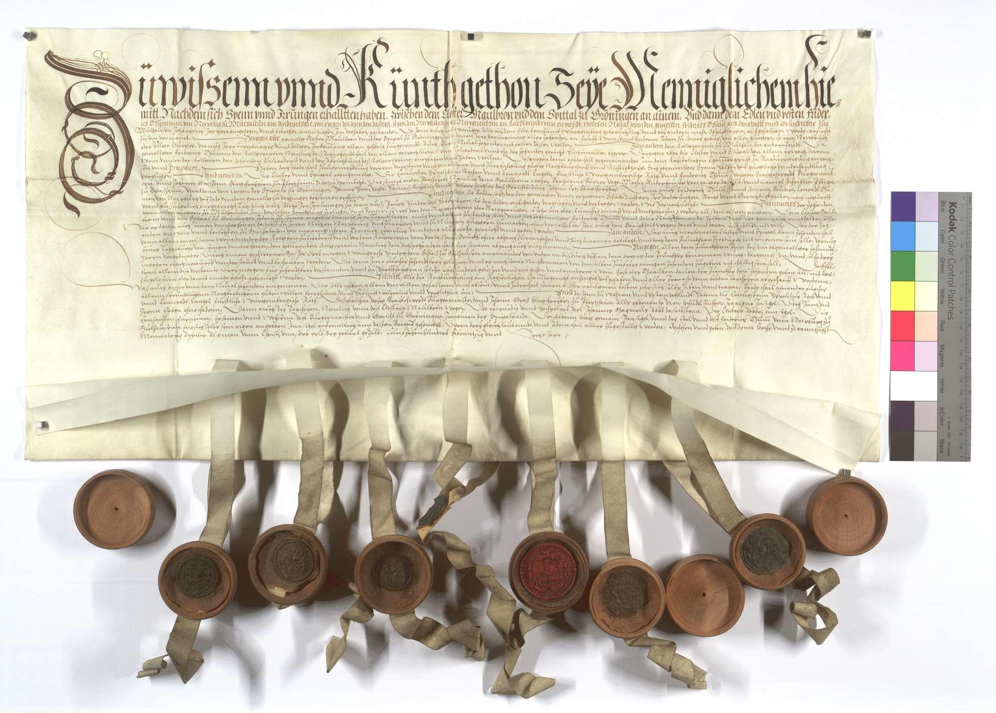 Vertrag zwischen dem Kloster Maulbronn und dem Spital in Markgröningen (Groningen) einer- und Friedrich Thumb von Neuburg andernteils wegen des Neugereuts sowie Zehnten und Kirchenweins in Mühlhausen (Mülhausen)., Text