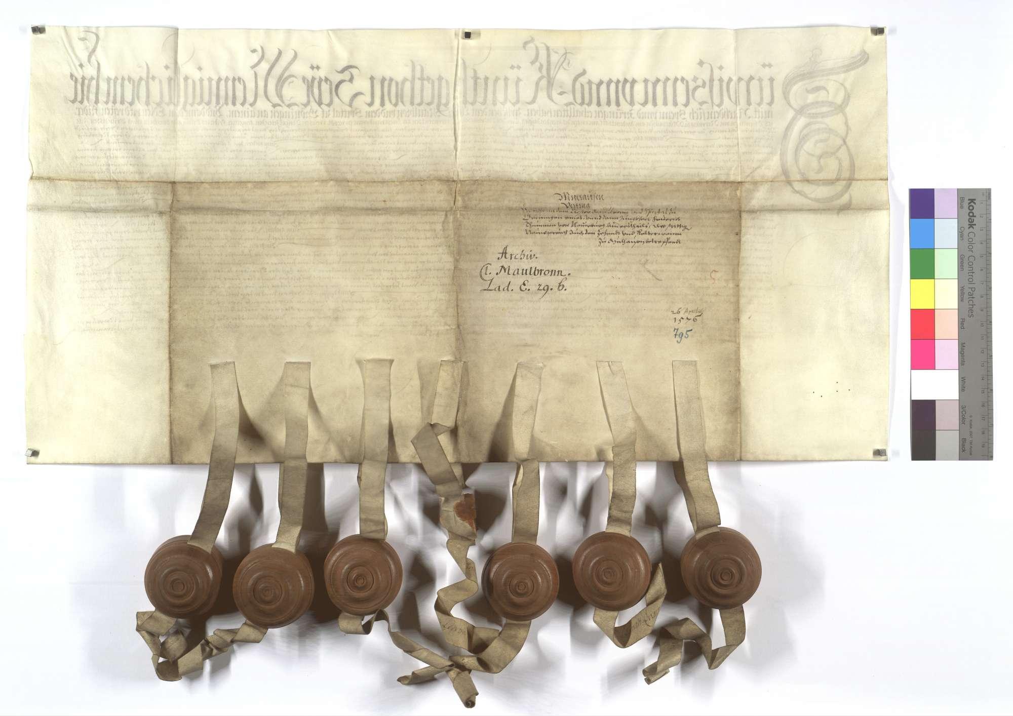 Vertrag zwischen dem Kloster Maulbronn und dem Spital in Markgröningen (Groningen) einer- und Friedrich Thumb von Neuburg andernteils wegen des Neugereuts sowie Zehnten und Kirchenweins in Mühlhausen (Mülhausen)., Rückseite