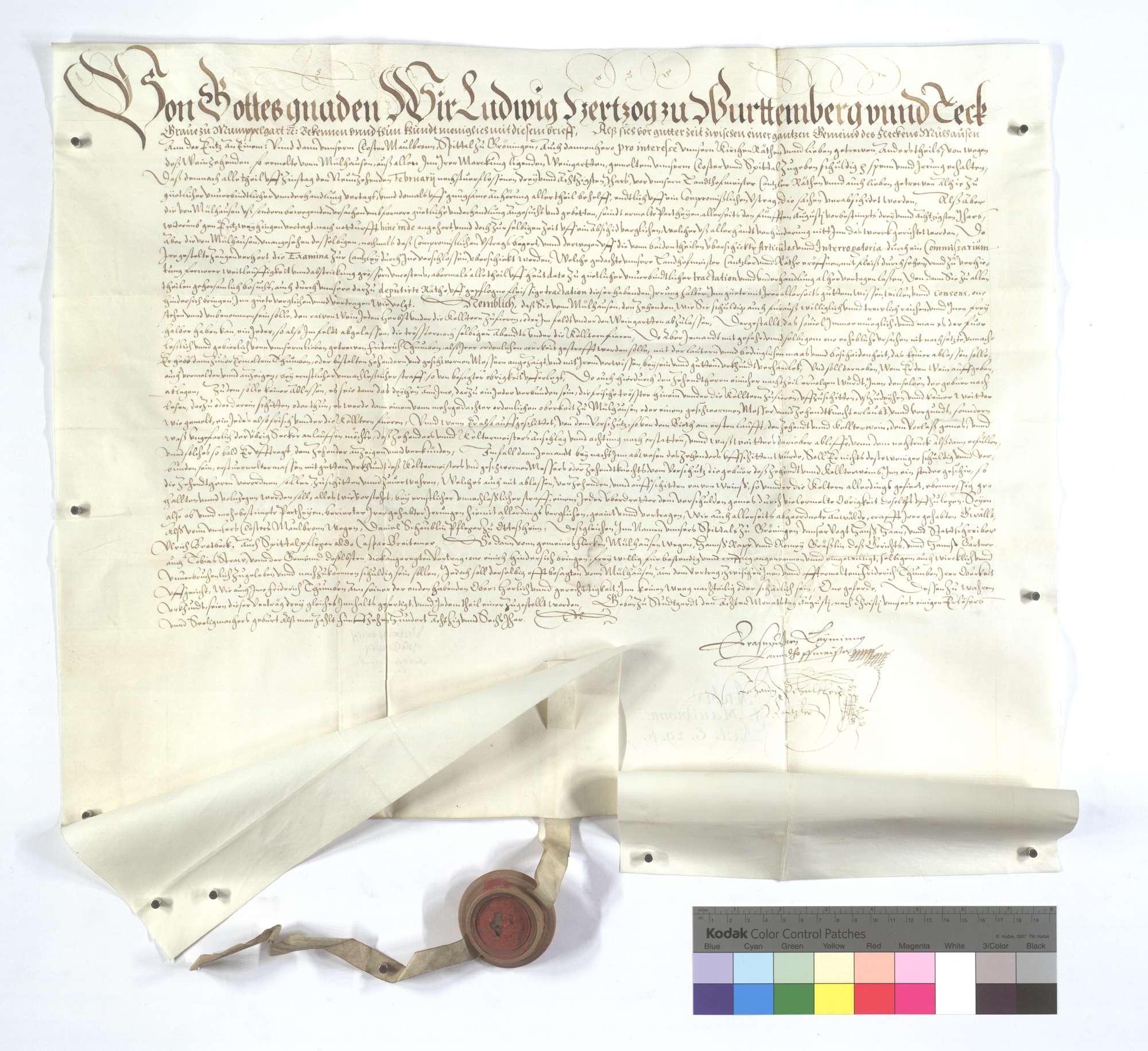 Vertrag zwischen der Kommune Mühlhausen (Mülhausen) und dem Kloster Maulbronn und Spital in Markgröningen (Groningen) wegen des Weinzehnten auf ersterer Markung., Text