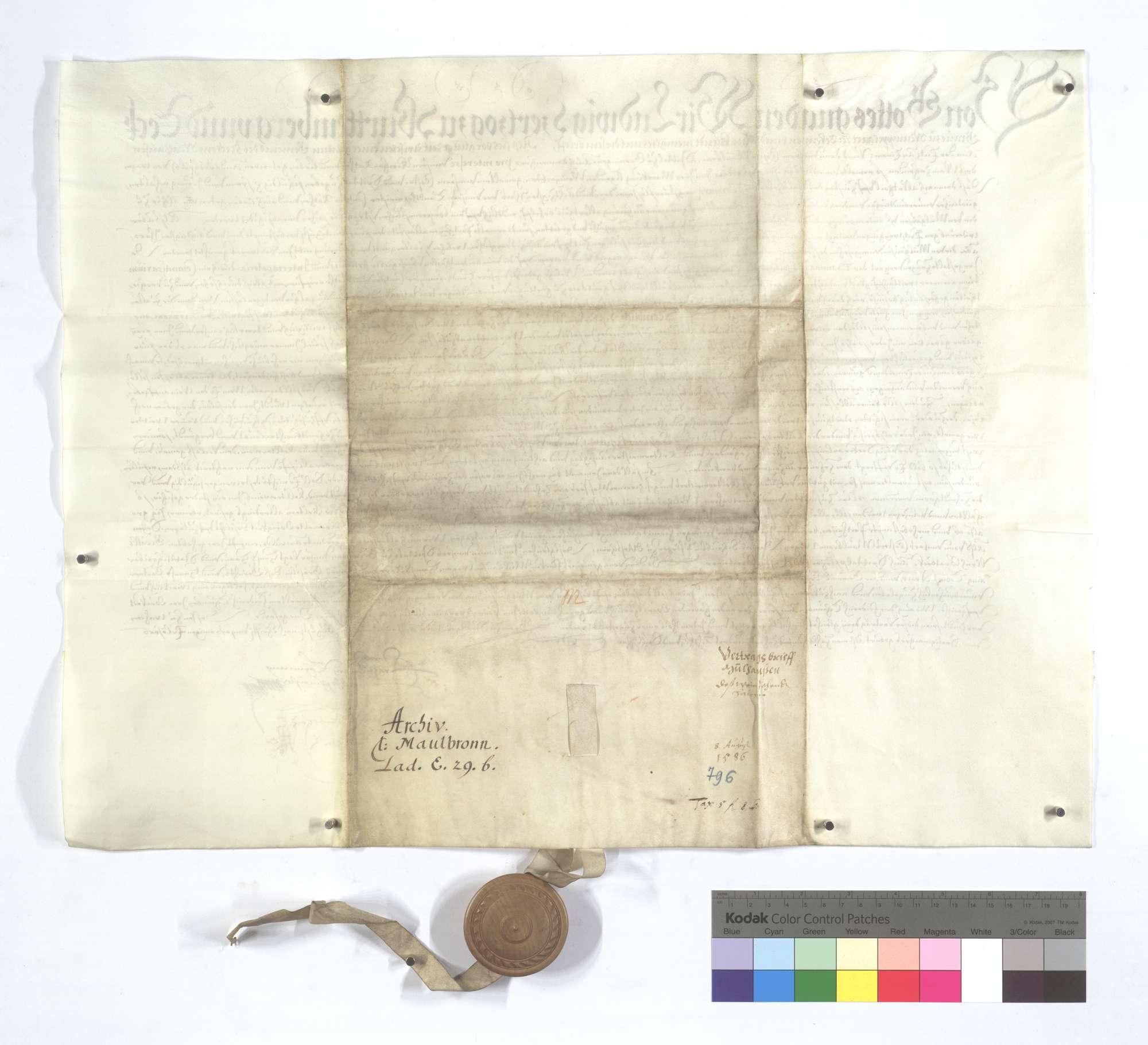 Vertrag zwischen der Kommune Mühlhausen (Mülhausen) und dem Kloster Maulbronn und Spital in Markgröningen (Groningen) wegen des Weinzehnten auf ersterer Markung., Rückseite