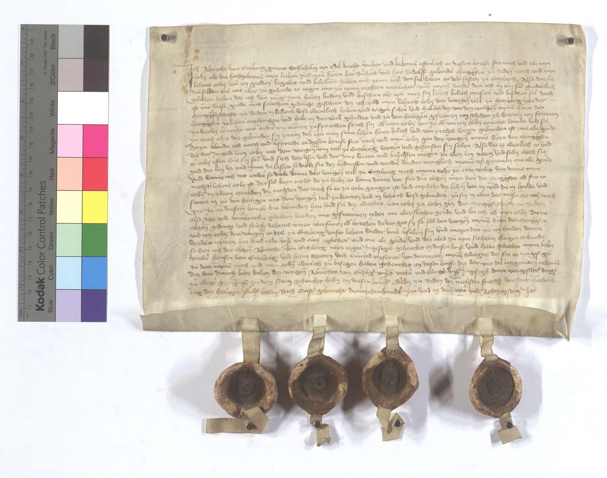 Albrecht von Enzbergs, genannt Schühlin, Lehensrevers gegen Markgraf Bernhard und Rudolf von Baden um ihren Teil der Vogtei in Enzberg., Text