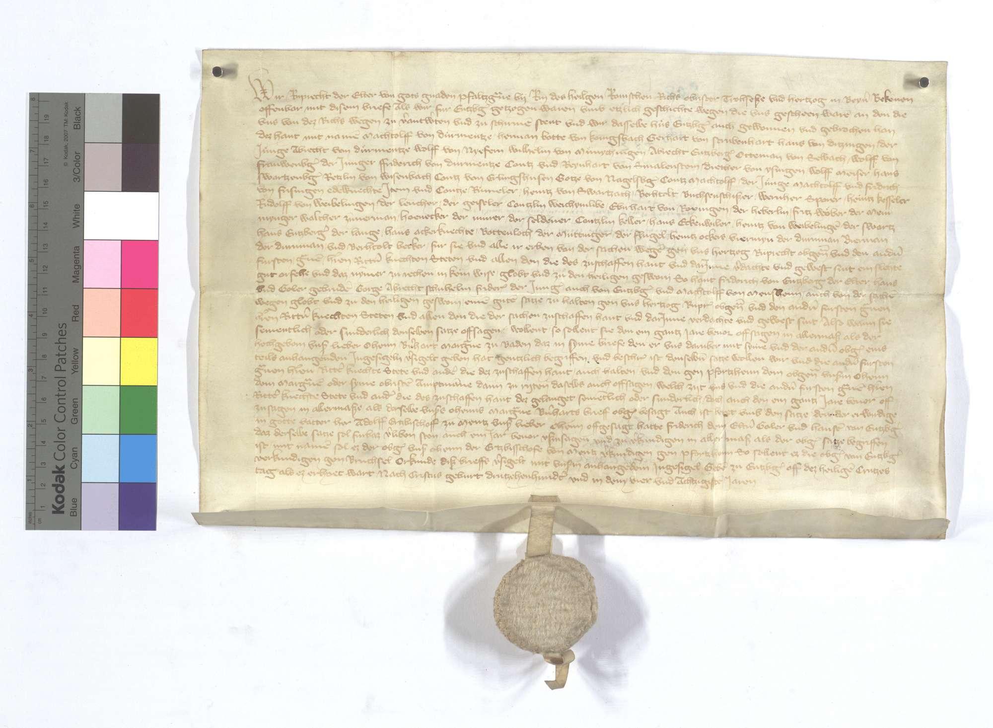 Pfalzgraf Ruprecht, Kurfürst, vergleicht sich mit etlichen von Adel und anderen wegen der Einnahme und Zerstörung der Burg in Enzberg., Text