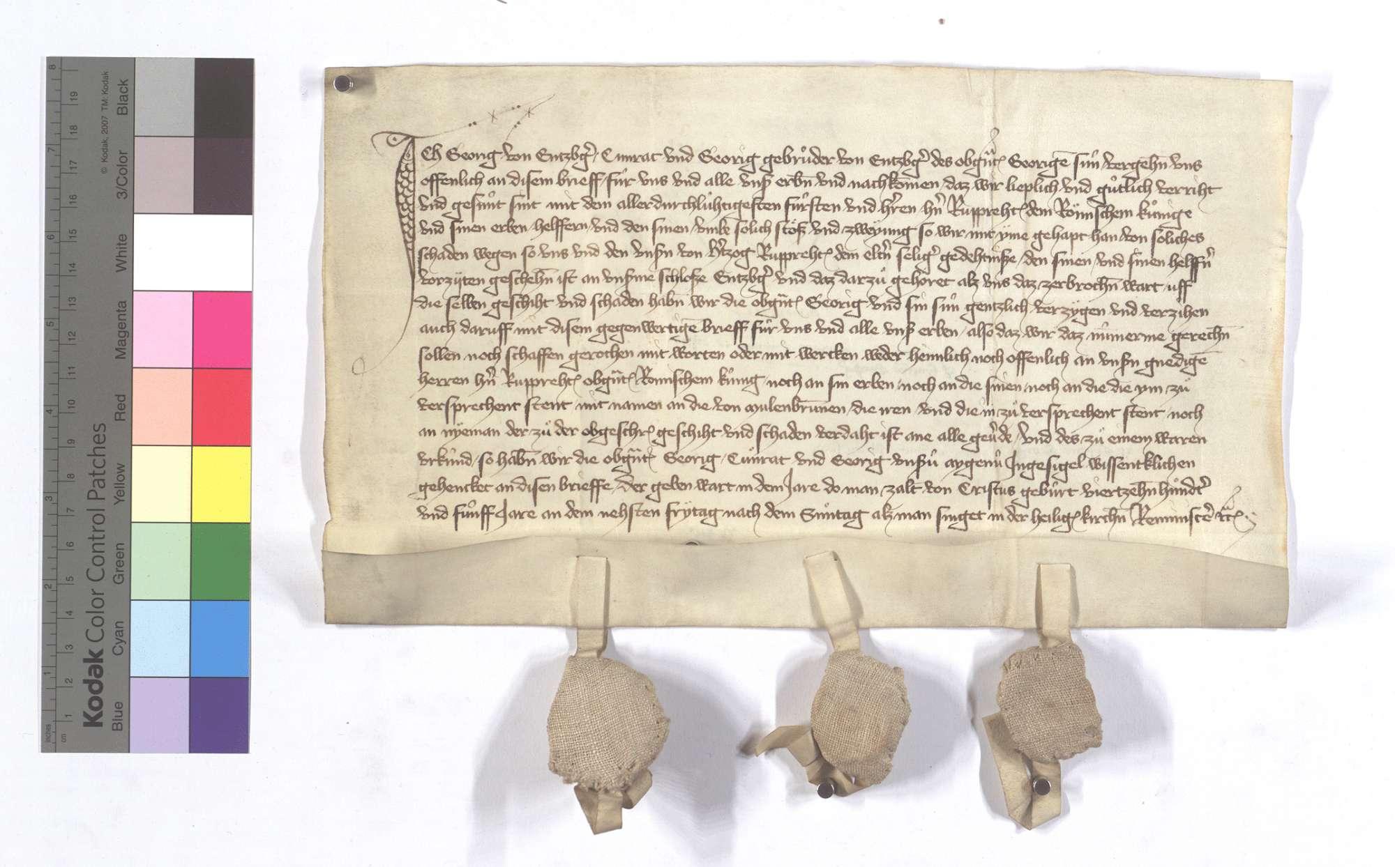 Georg von Enzberg sowie Conrad und Georg, seine Söhne, verzeihen sich gegen den Römischen König Ruprecht III. des ihnen von dessen Vater, Pfalzgraf Ruprecht II., an dem Schloss zu Enzberg zugefügten Schadens., Text