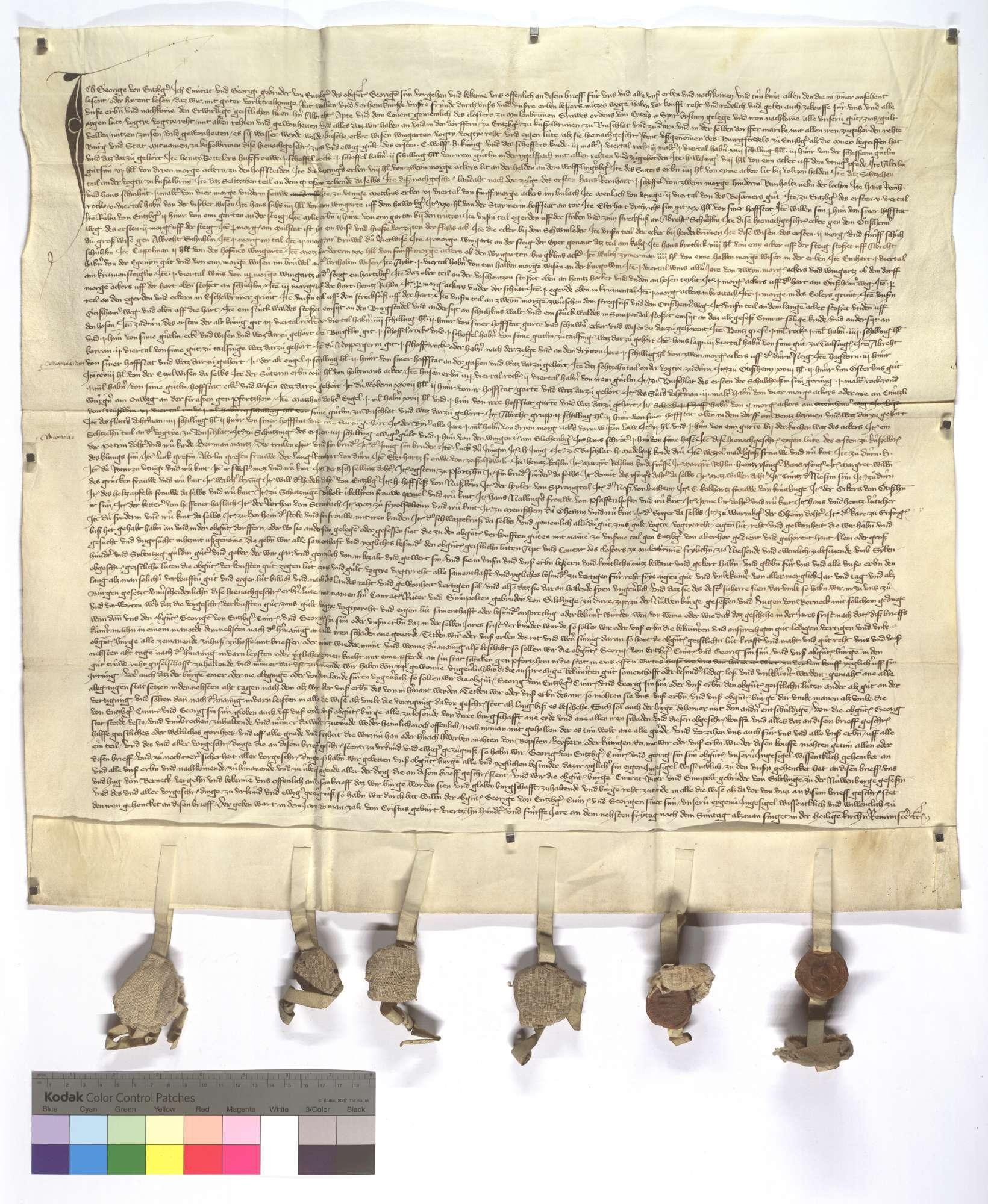 Georg von Enzberg sowie Conrad und Georg, seine Söhne, verkaufen dem Kloster Maulbronn ihr Einkommen in Enzberg, Dürrn, Bauschlott (Bauschlot) und Kieselbronn samt Gerechtsame., Text