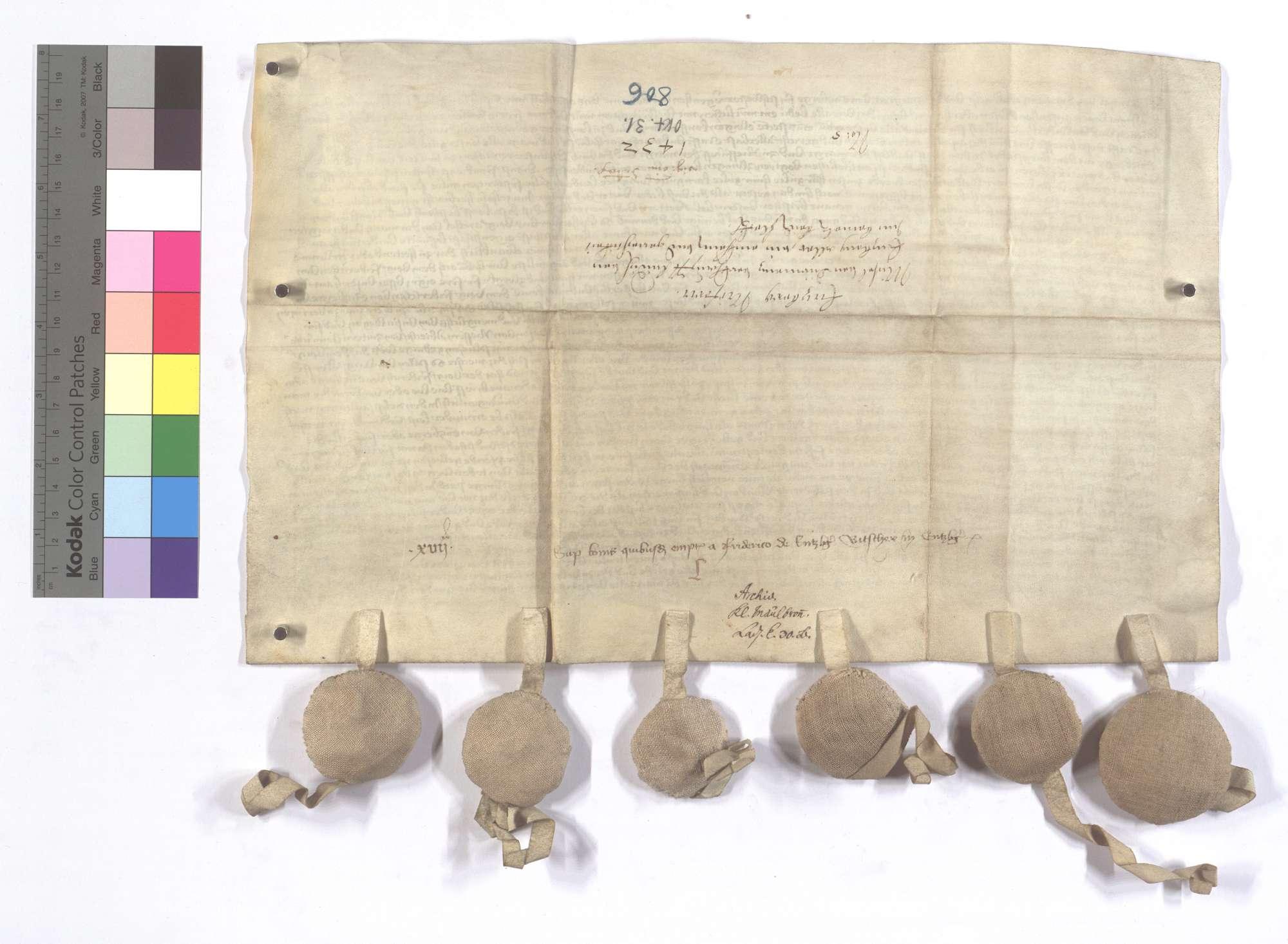 Michael von Dürrmenz verkauft sein Einkommen und Gerechtsame in Enzberg und Niefern an Friedrich von Enzberg., Rückseite