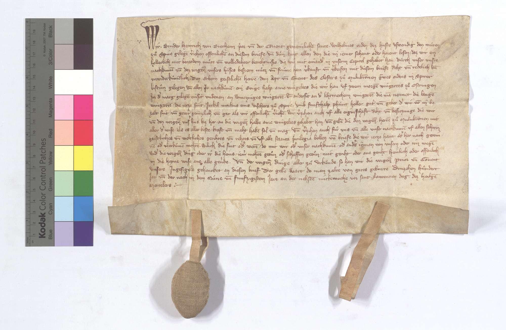 Der Prior und Konvent des St. Wilhelmsordens in Speyer verkaufen dem Kloster Maulbronn 1/2 Ohm jährliches Weingeld aus 2 Morgen Weingarten in Östringen., Text