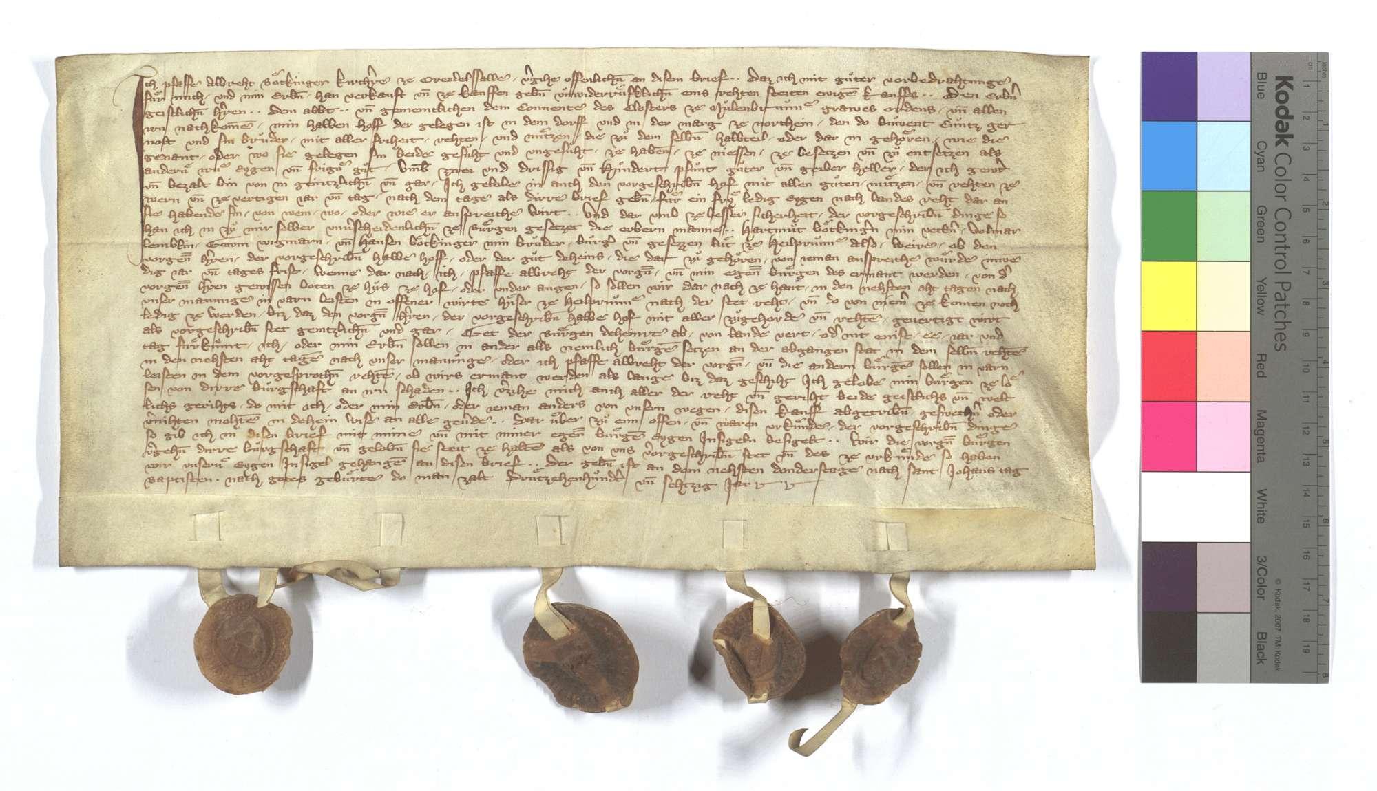 Albrecht Böckinger, Kirchherr von Orendelsall (Orendelsol), verkauft dem Kloster Maulbronn seinen halben Hof in Nordheim (Northeim)., Text