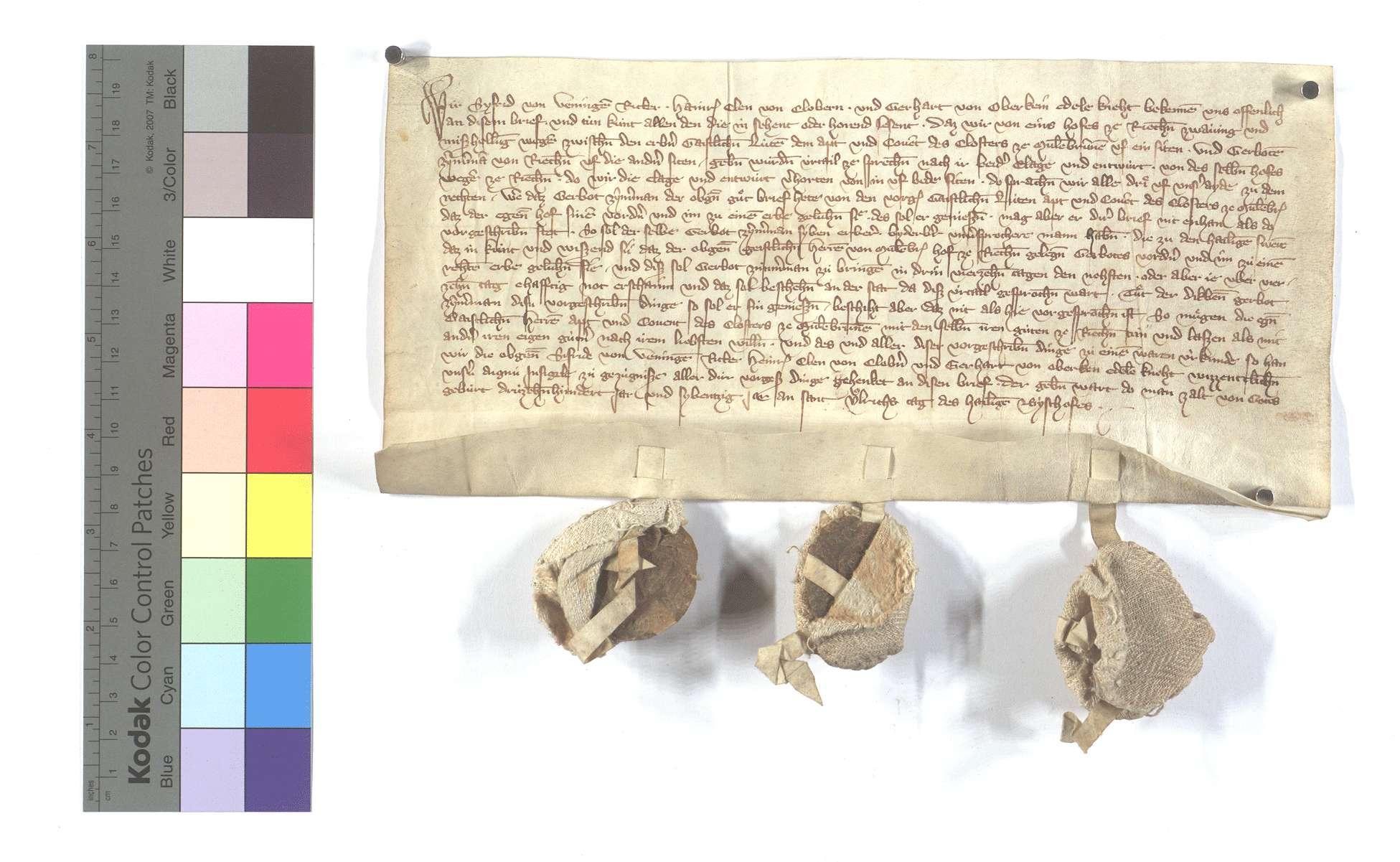 Vereinbarung zwischen dem Kloster Maulbronn und Gerbot Zimmermann wegen eines Hofs in Richen, den dieser als ein Erblehen beansprucht., Text