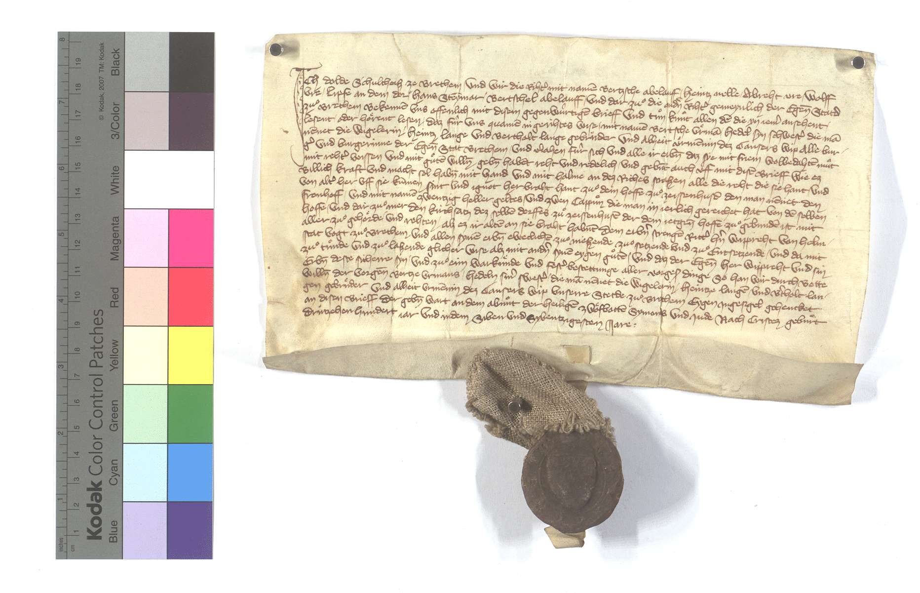 Bertsch Urmann und Konsorten von Bretten (Bretheim) übergeben den Fronhof samt dem Kirchensatz in Zaisenhausen an Wiprecht von Helmstatt., Text