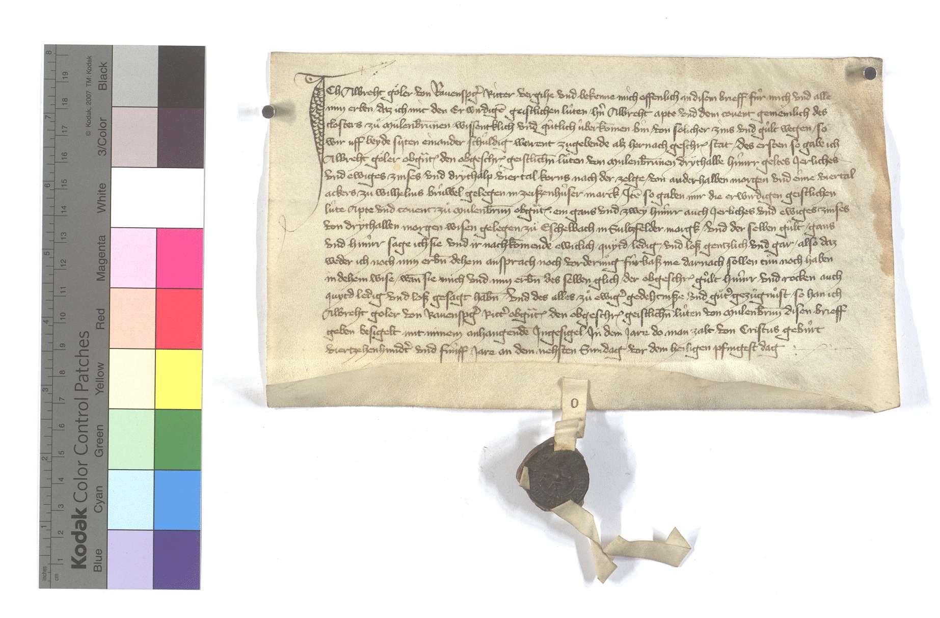 Albrecht Göler von Ravensburg (Ravensperg) verkauft dem Kloster Maulbronn etliche Zinsen und Gülten in Zaisenhausen gegen dergleichen andere zu Eschelbach in Sulzfelder Markung., Text