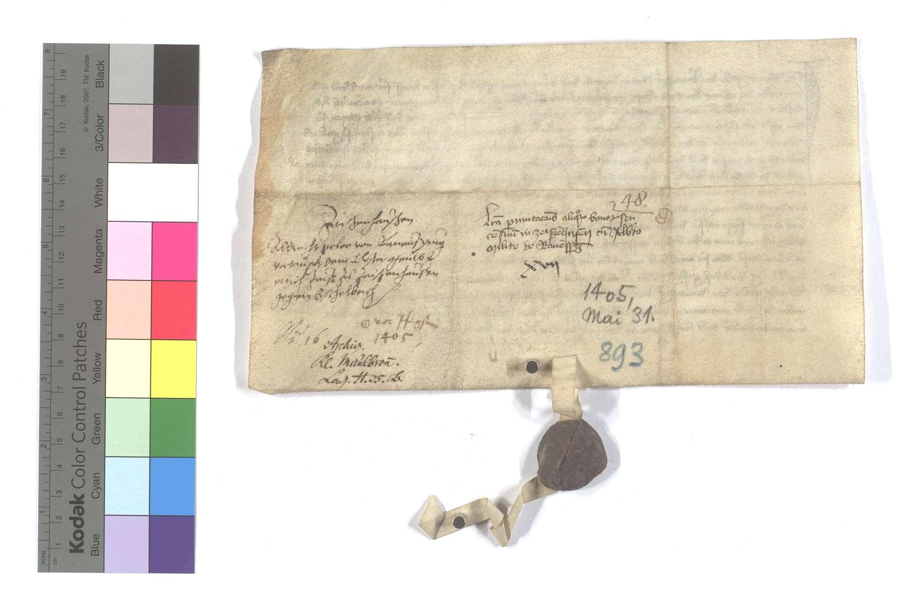 Albrecht Göler von Ravensburg (Ravensperg) verkauft dem Kloster Maulbronn etliche Zinsen und Gülten in Zaisenhausen gegen dergleichen andere zu Eschelbach in Sulzfelder Markung., Rückseite