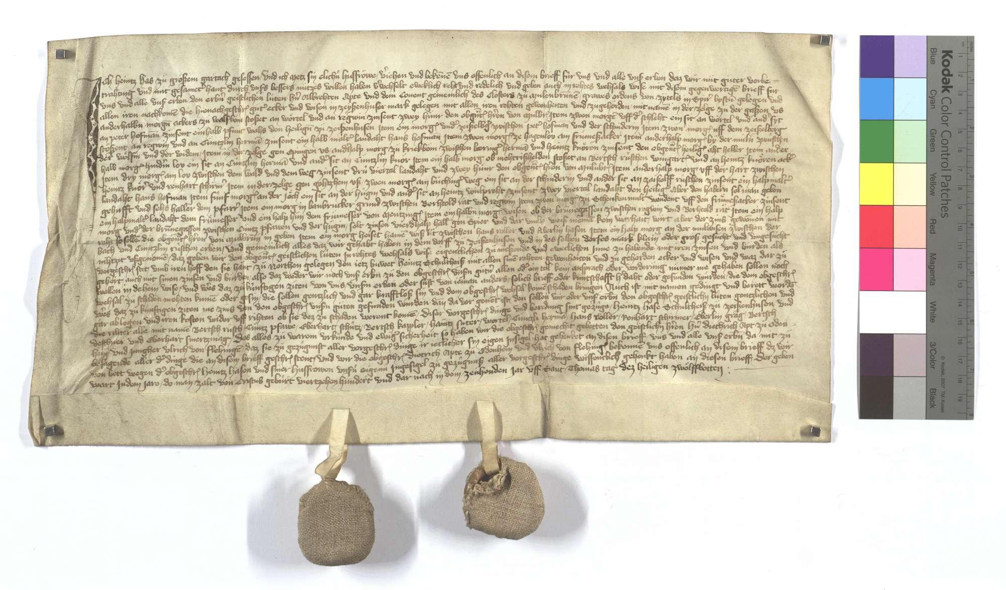Heinz Has von Großgartach (Großem Gartach) verkauft dem Kloster Maulbronn seine Güter in Zaisenhausen gegen den Hof zu Nordheim., Text