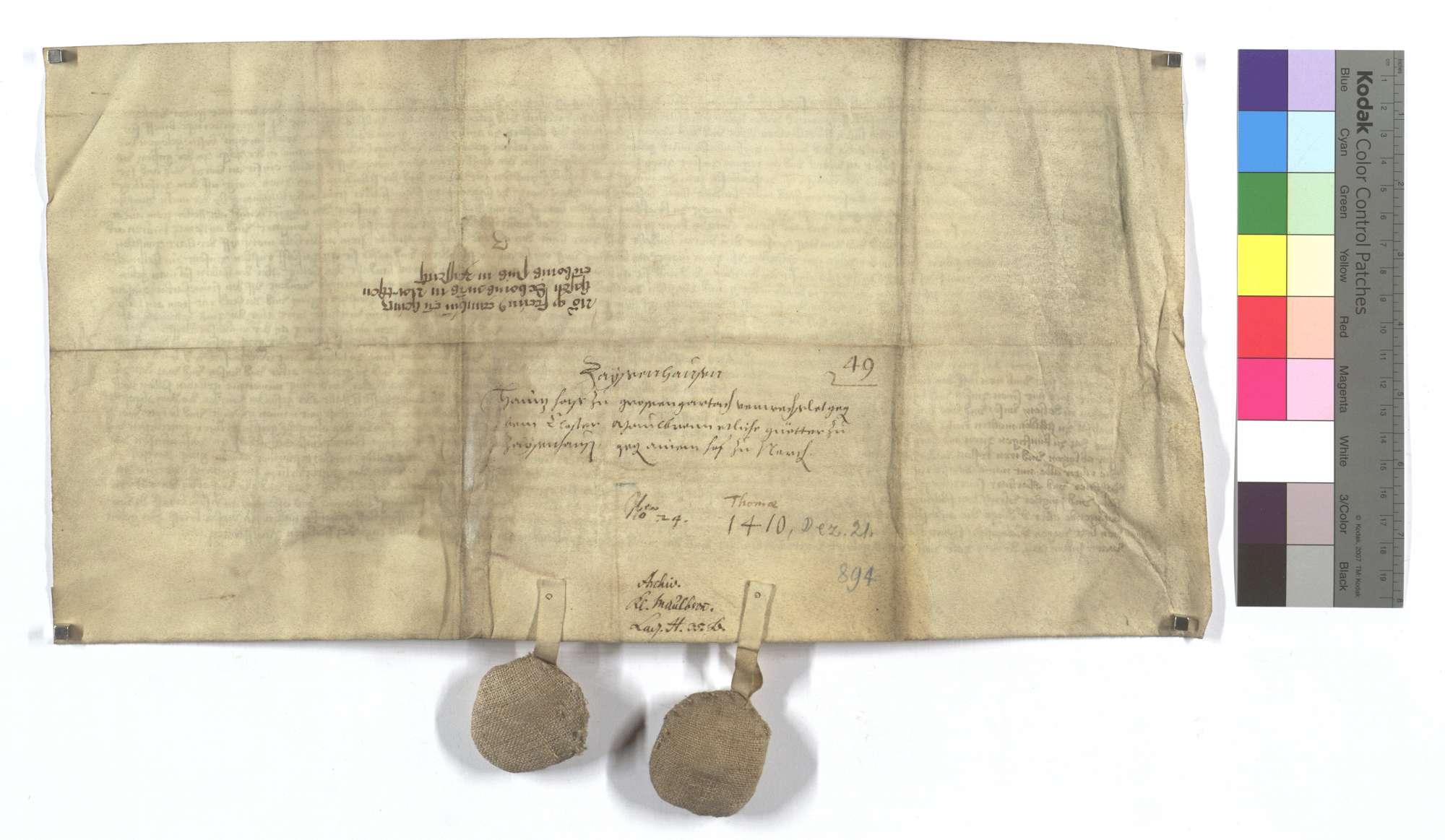 Heinz Has von Großgartach (Großem Gartach) verkauft dem Kloster Maulbronn seine Güter in Zaisenhausen gegen den Hof zu Nordheim., Rückseite