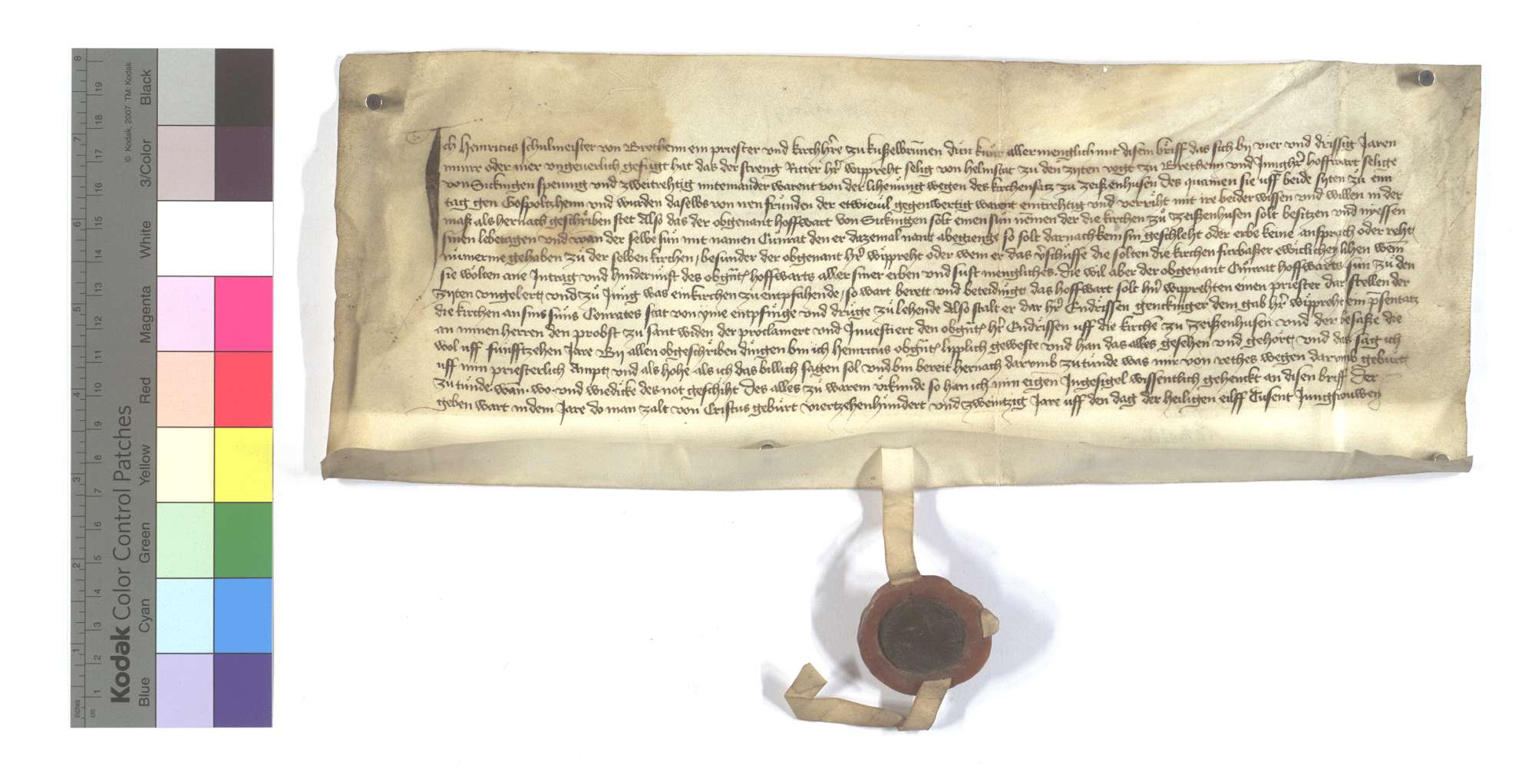 Kundschaft des Kirchherrn von Kieselbronn (Kießelbrunnen) wegen Leihung des Kirchensatzes in Zaisenhausen., Text