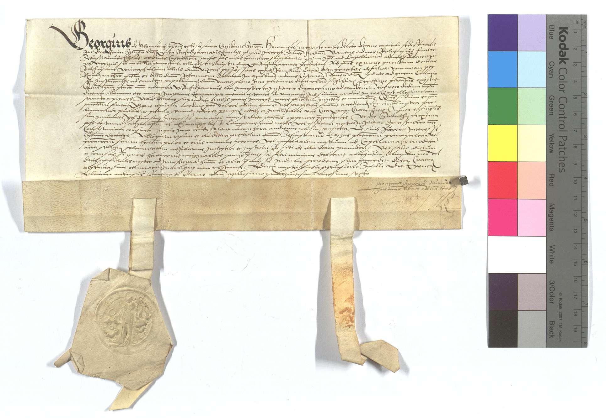 Mandat an den Dekan von Bretten (Bretheim), den Religiosus Sebastian Elsas als Kaplan von Zaisenhausen zu proklamieren., Text Plica