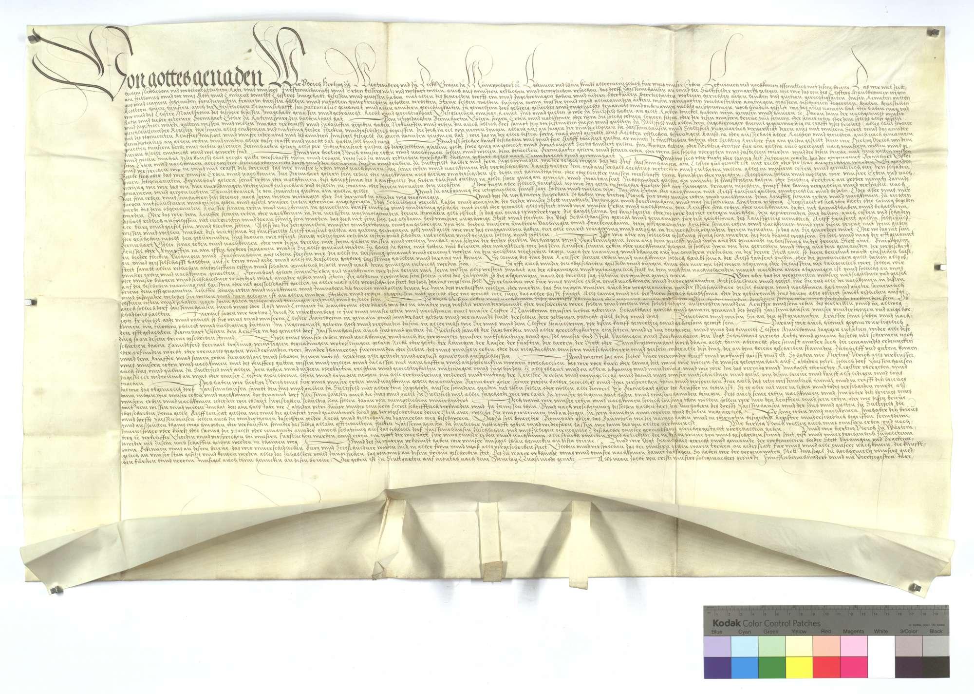 Herzog Ulrich von Württemberg (Wirtemberg) verkauft das Dorf Zaisenhausen samt dem Zins und Gülten in Sulzfeld an Bernhard Göler von Ravensburg (Ravensperg) um 11.000 Gulden auf Wiederlösung., Text