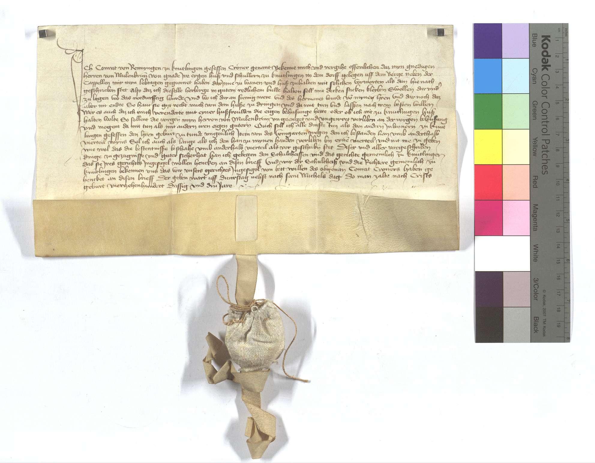 Verschreibung Conrad Cröners von Renningen (Rennyngen) in Knittlingen, als ihm von dem Kloster Maulbronn ein Haus und eine Scheuer dort lebenslang zu bewohnen eingeräumt worden sind., Text