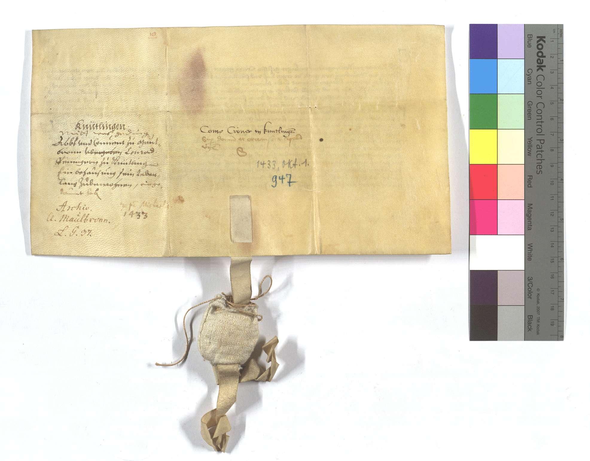 Verschreibung Conrad Cröners von Renningen (Rennyngen) in Knittlingen, als ihm von dem Kloster Maulbronn ein Haus und eine Scheuer dort lebenslang zu bewohnen eingeräumt worden sind., Rückseite