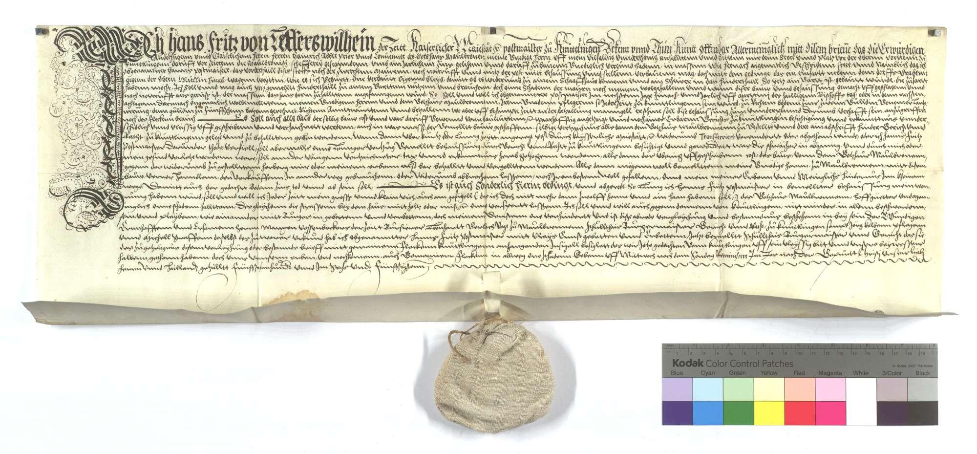 Verschreibung des Postmeisters von Knittlingen gegen das Kloster Maulbronn, als ihm vergönnt wurde, das neue Posthaus zu bauen., Text
