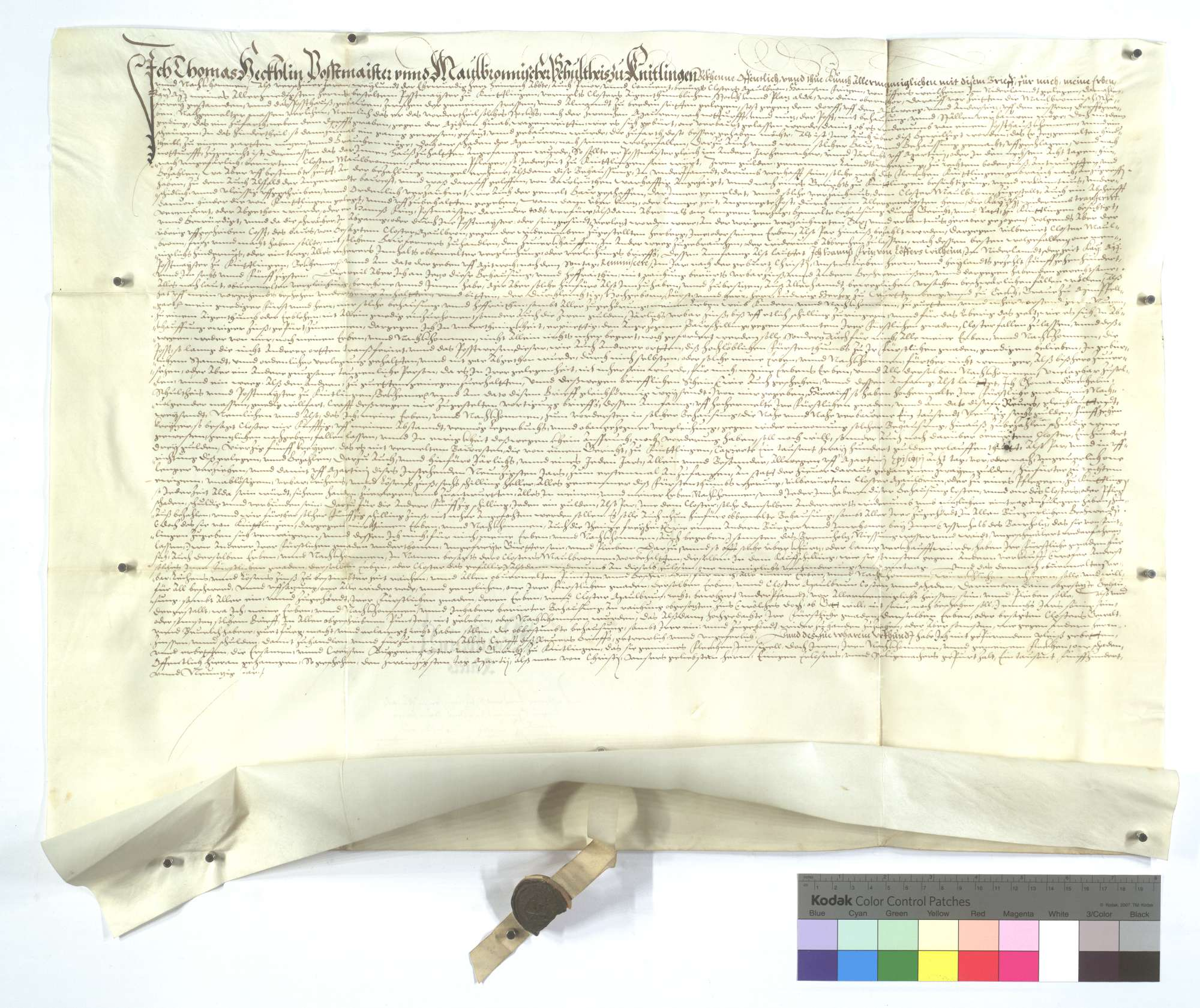 Revers des Postmeister und Schultheiß Thomas Hecklin von Knittlingen wegen seiner innehabenden Postbehausung., Text