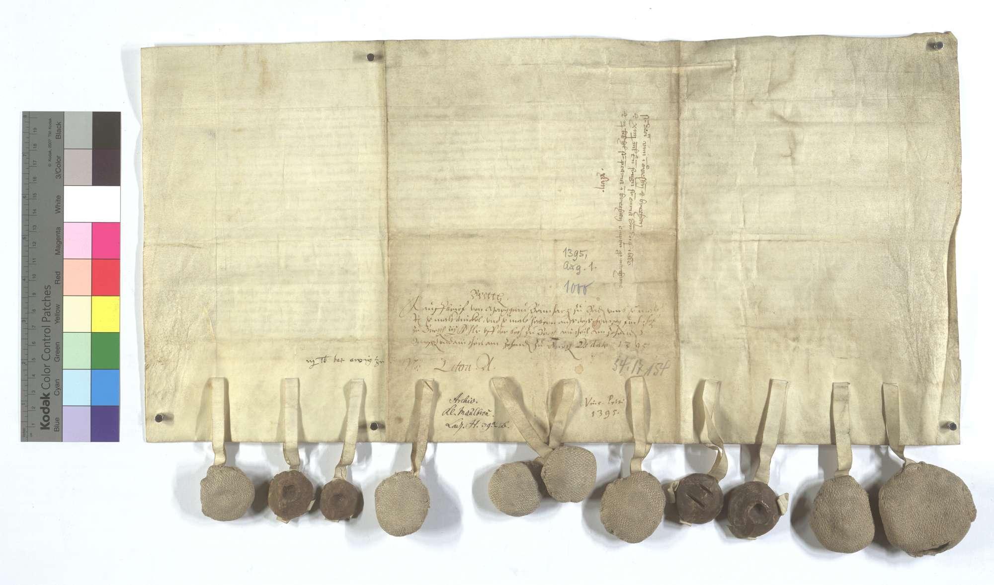 Markgraf Bernhard von Baden verkauft dem Kloster Maulbronn eine jährliche Korngült aus des Herzogs Fronhof in Bretten (Bretheim) samt 2 1/2 Pfund [Heller] jährlich aus der Beth dort, einen Teil des Zehnten allda und in Unteröwisheim., Rückseite