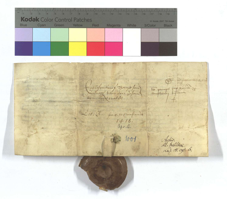 Kurpfälzischer Lehensbrief für Hans Heyden von Bretten (Brettheim) um den Zehnten von den Äckern vor dem Ruiter Wald (Ried dem Walde)., Rückseite