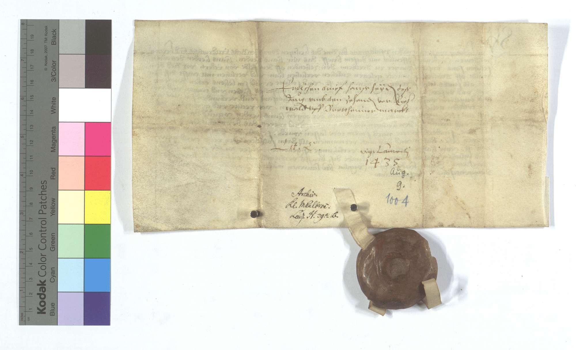 Kurpfälzischer Lehensbrief für Hans Heyden von Bretten (Brettheim) um den Zehnten von den Äckern vor dem Ruiter (Rieder) Wald., Rückseite
