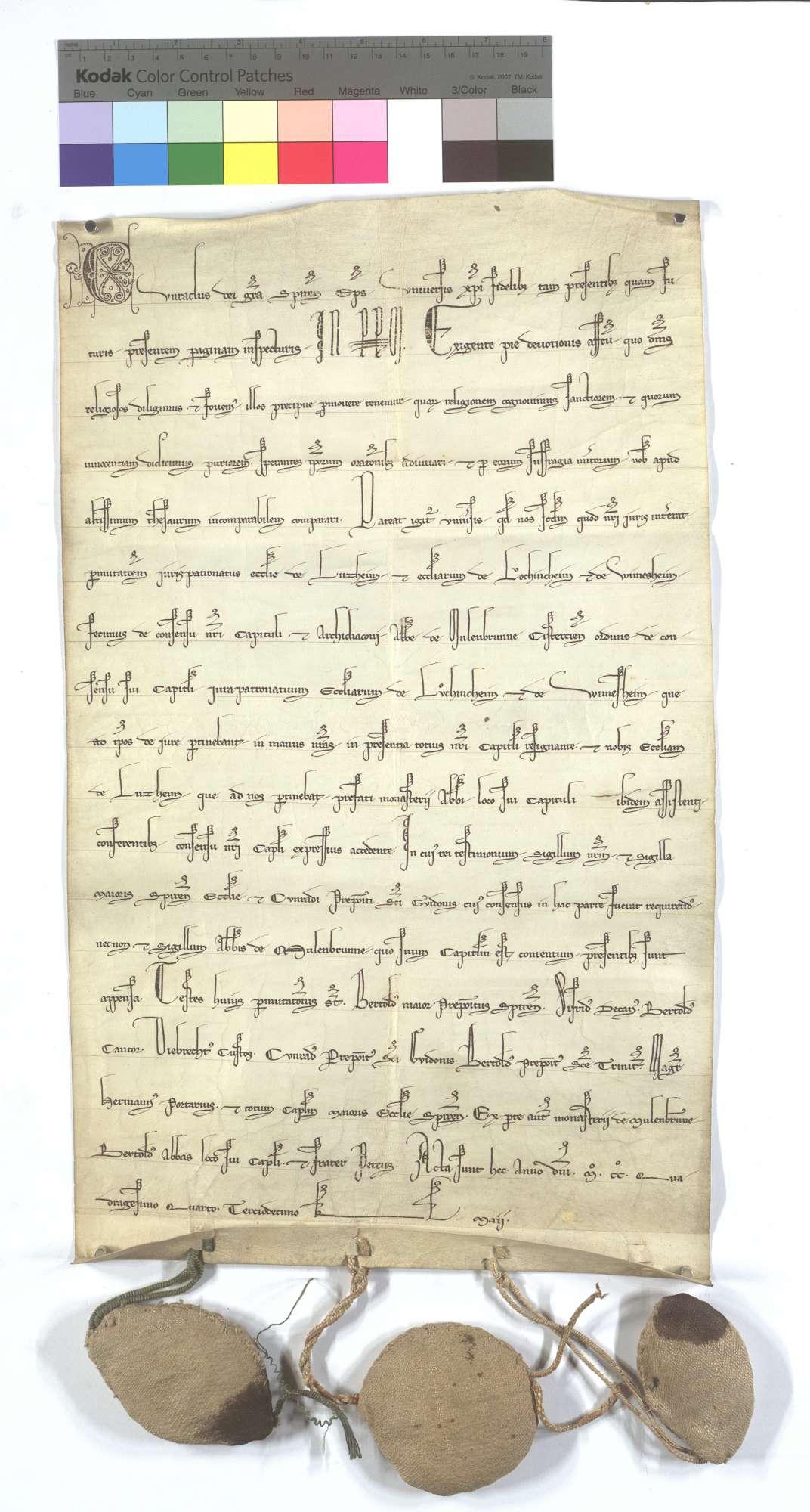 Bischof Konrad von Speyer vertauscht das Patronatrecht der Kirche in Lußheim gegen das der Kirche zu Löchgau und Wimsheim an das Kloster Maulbronn., Text