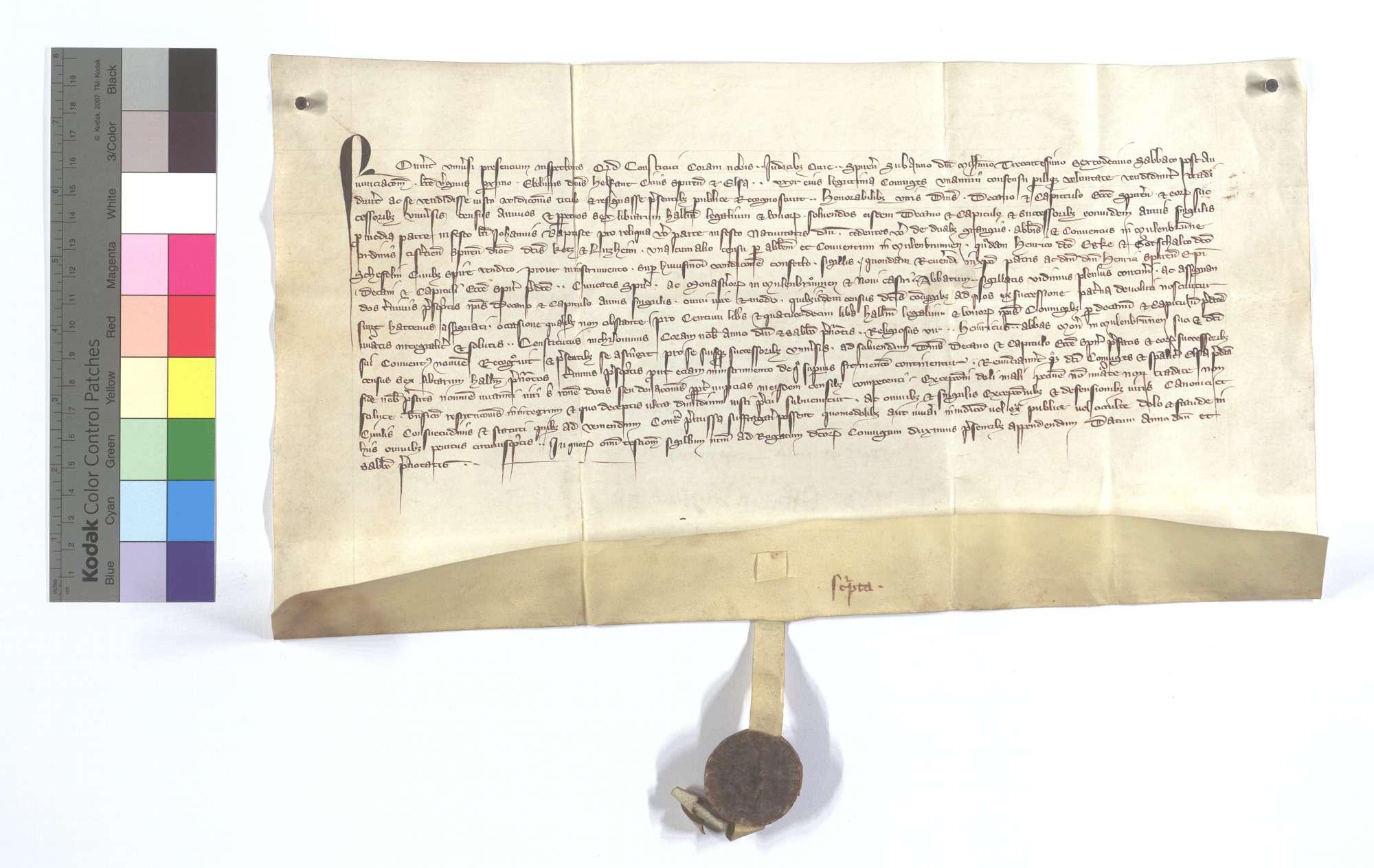 Der Speyerer Bürger Ebelin Helfant und seine Frau verkaufen dem Domstift in Speyer einen jährlichen Zins von 6 Pfund Heller aus den zwei Höfen des Klosters Maulbronn in Ketsch und Lußheim., Text