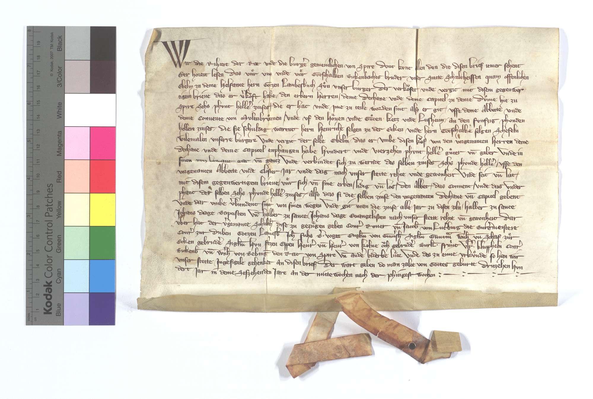 Eblin Helfant und seine Frau verkaufen dem Domstift in Speyer einen jährlichen Zins von 6 Pfund Heller aus den zwei Höfen des Klosters Maulbronn in Ketsch und Lußheim., Text