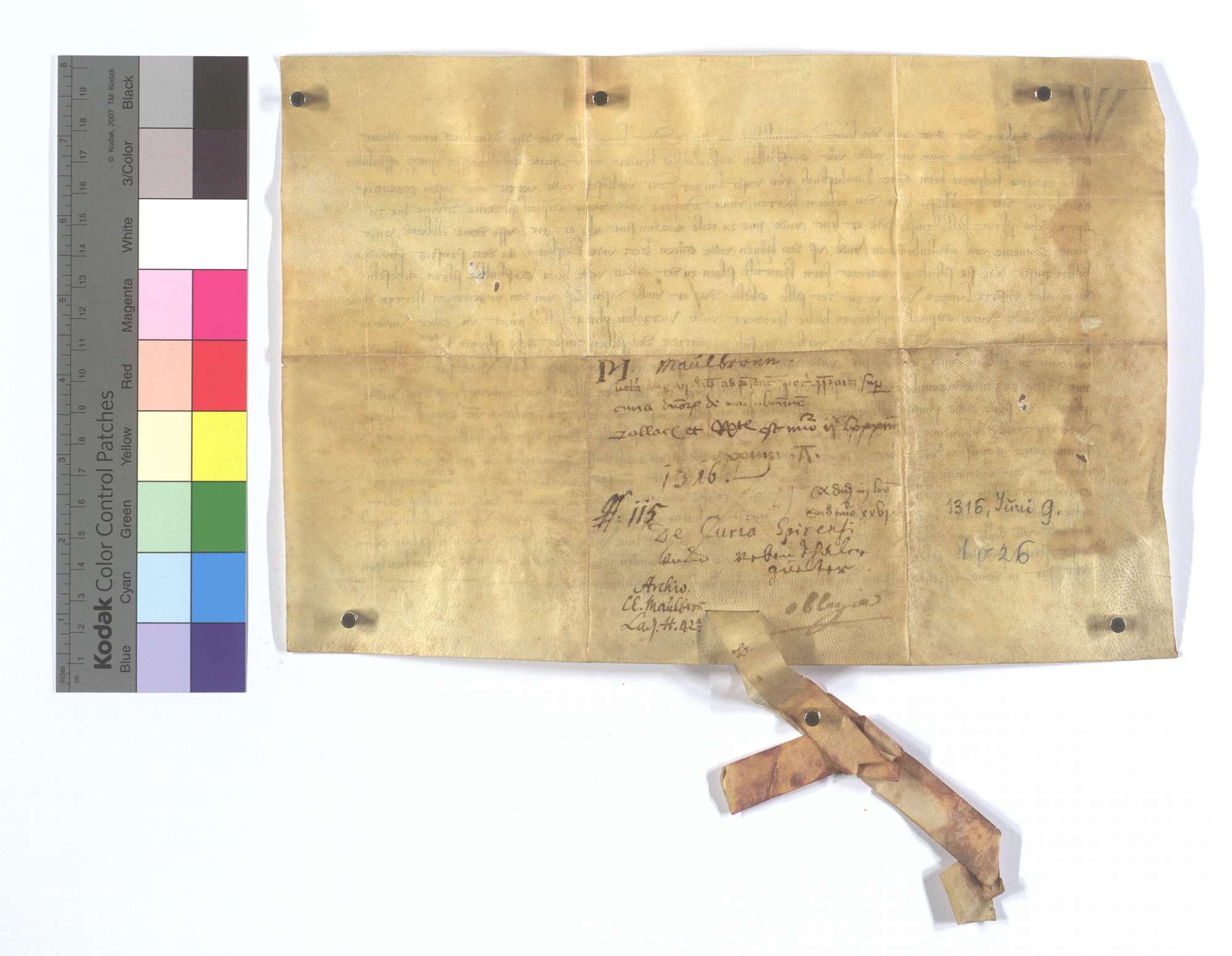 Eblin Helfant und seine Frau verkaufen dem Domstift in Speyer einen jährlichen Zins von 6 Pfund Heller aus den zwei Höfen des Klosters Maulbronn in Ketsch und Lußheim., Rückseite