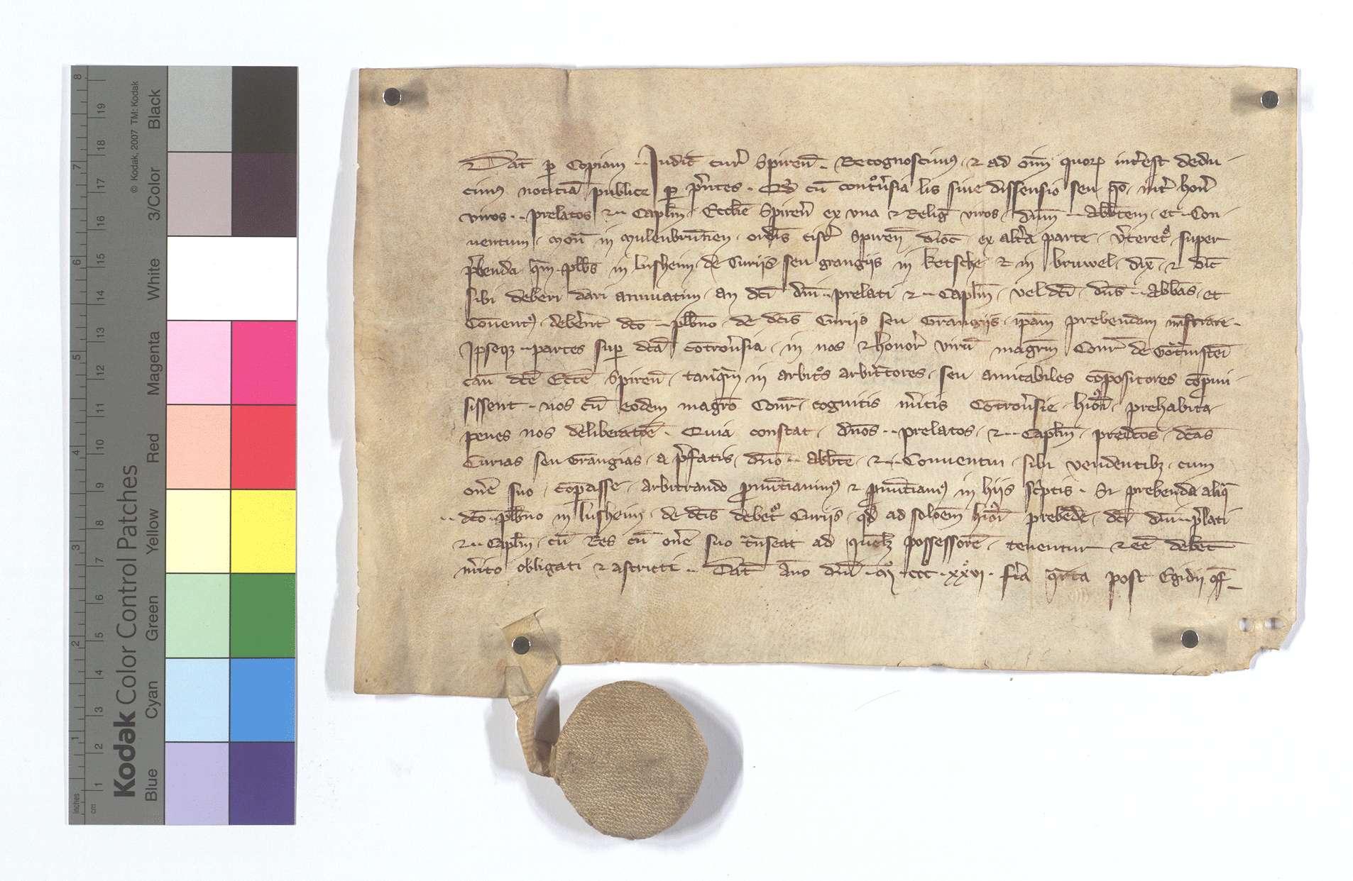 Das Geistliche Gericht zu Speyer entscheidet einen Streit zwischen dem Domkapitel Speyer und dem Kloster Maulbronn wegen einer Pfründe des Pfarrers von Lußheim auf den beiden Höfen in Ketsch und in Brühl (Brüel)., Text