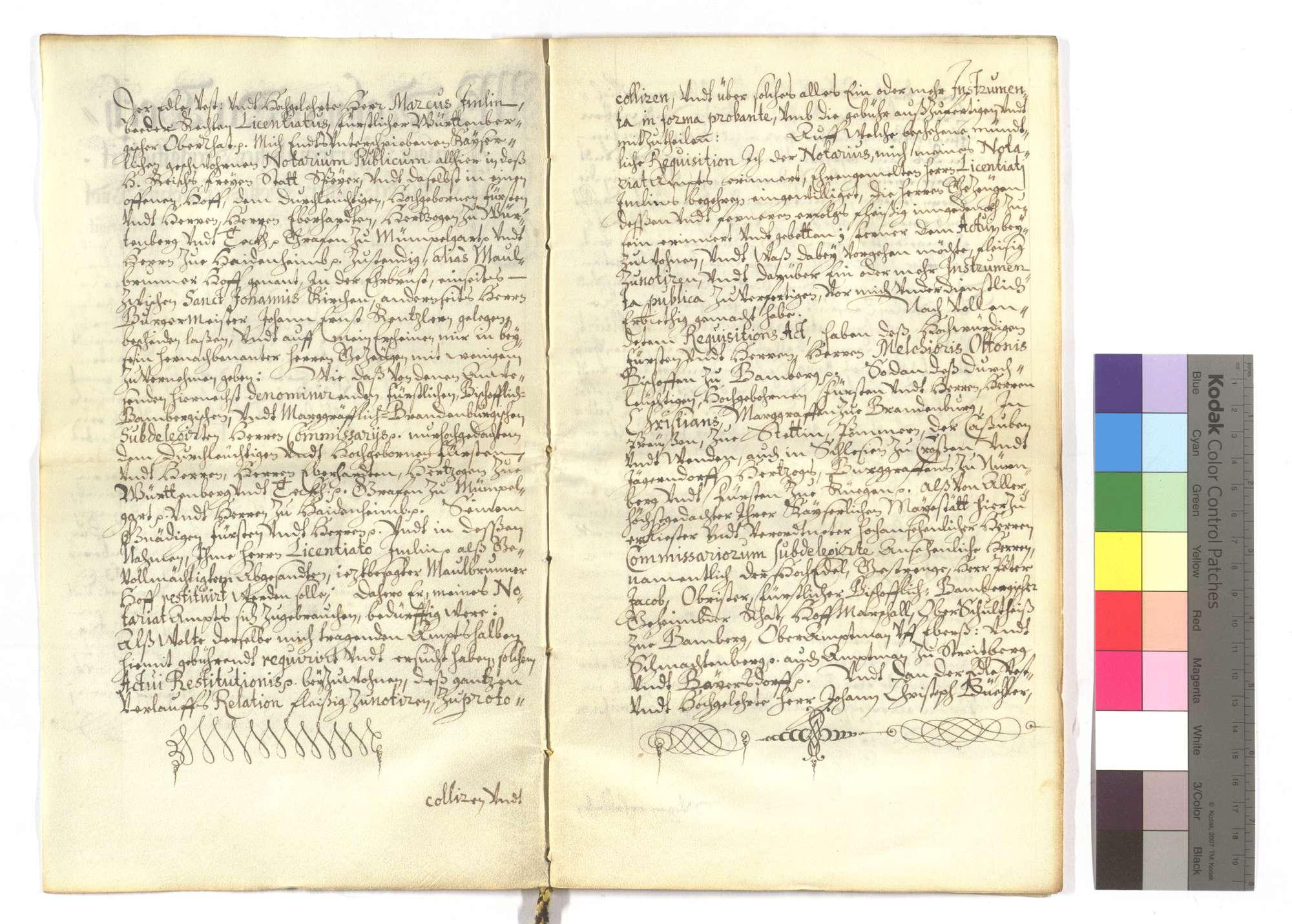 Der kaiserliche Notar Sebastian Schiller bestätigt die Restitution des Maulbronner Klosterhofs in Speyer und des Fleckens Lußheim an Herzog Eberhard von Württemberg (Wirtemberg) und die dort geleistete Huldigung., Bild 2