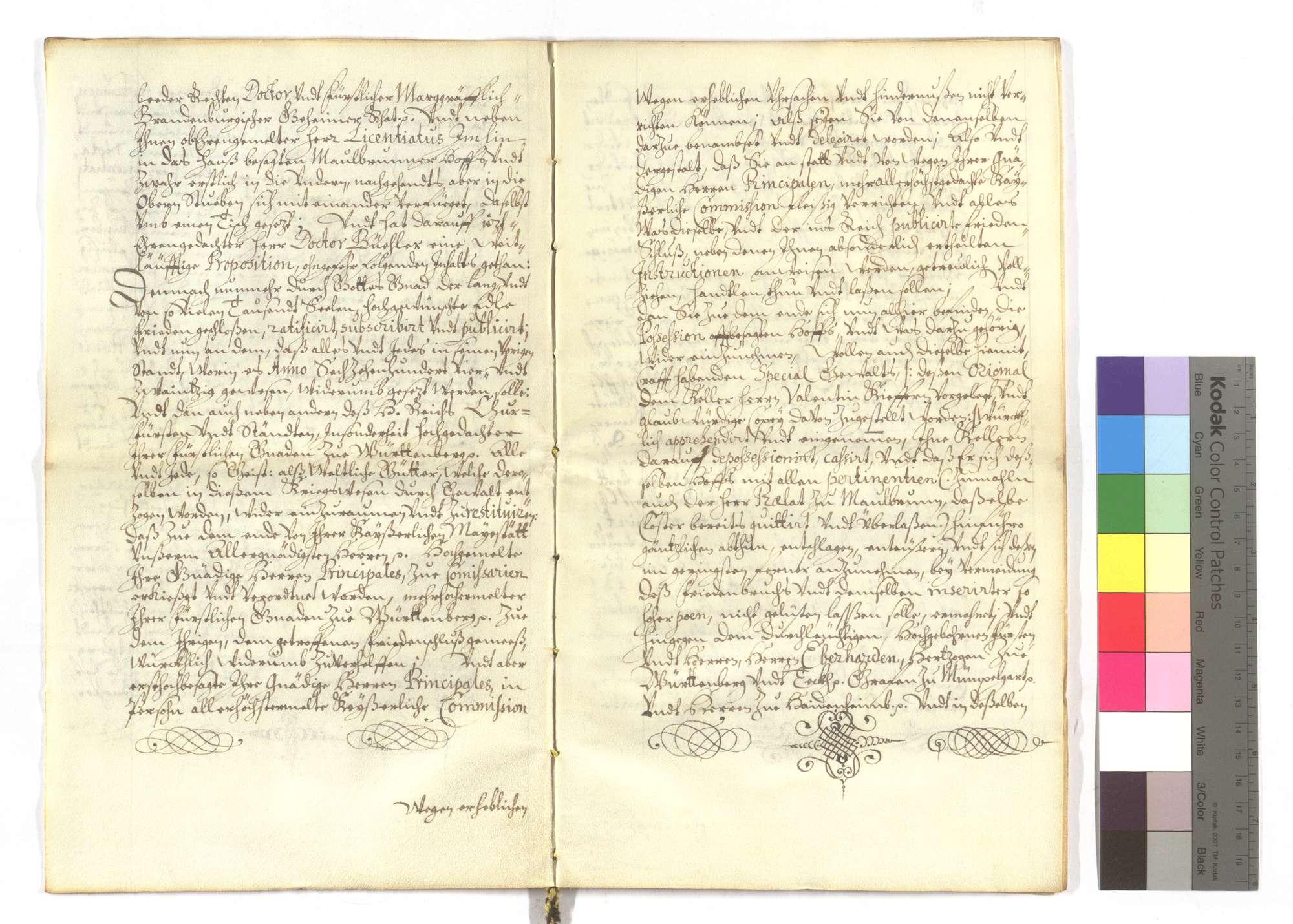 Der kaiserliche Notar Sebastian Schiller bestätigt die Restitution des Maulbronner Klosterhofs in Speyer und des Fleckens Lußheim an Herzog Eberhard von Württemberg (Wirtemberg) und die dort geleistete Huldigung., Bild 3