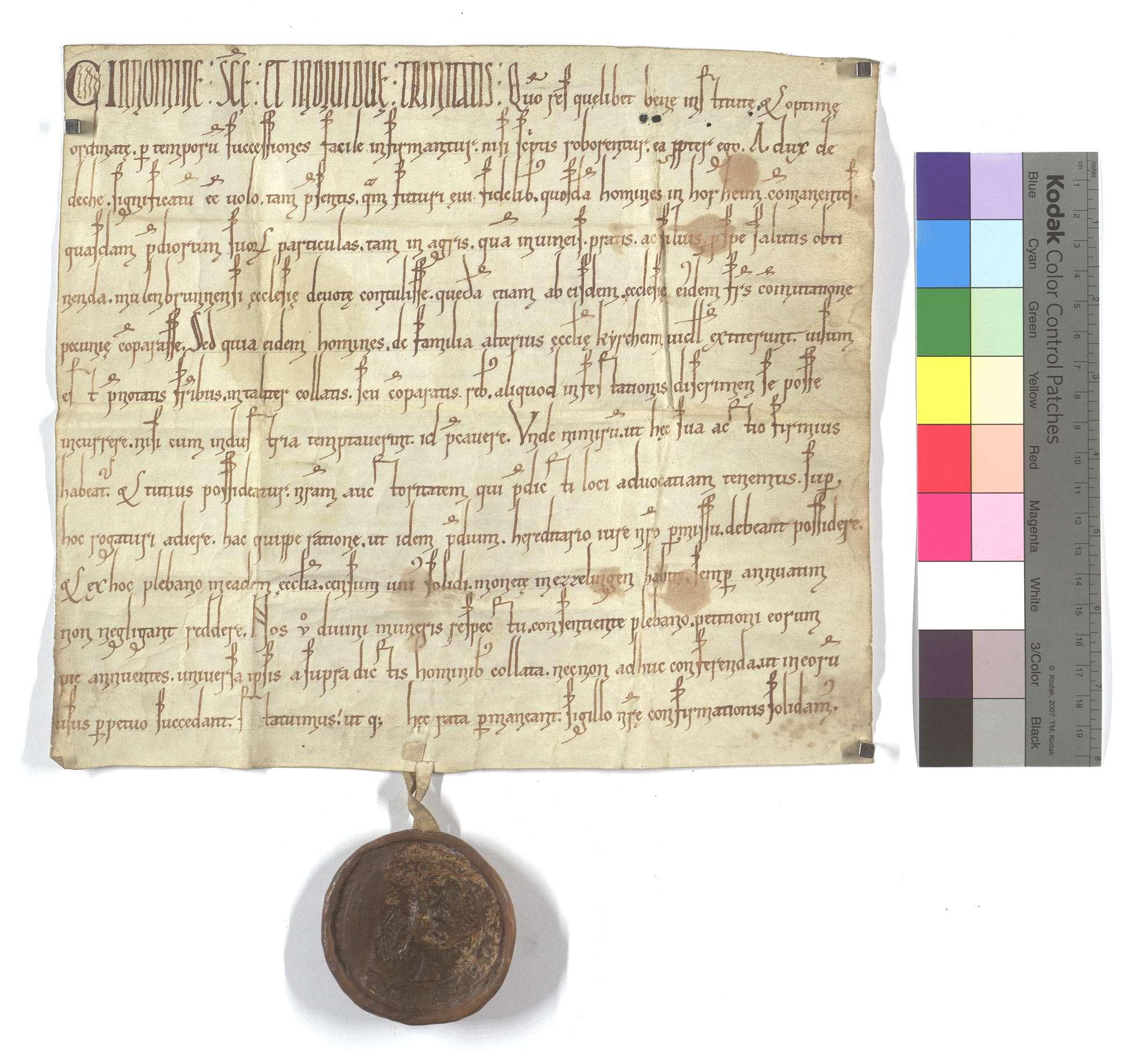 Herzog Adelbert von Teck genehmigt als Vogt die Schenkung und den Verkauf von Gütern durch in Horrheim wohnende Leute der Kirchheimer Kirche an das Kloster Maulbronn., Text