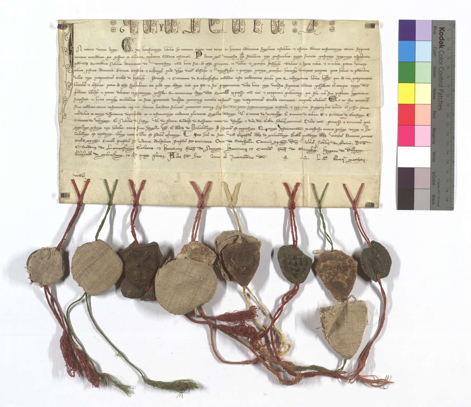 Vogt Berthold von Weißenstein verkauft an Priorin und Konvent von Rechentshofen alle seine Güter und Rechte in Dorf und Mark (Hohen-)Haslach, seine Eigenleute ausgenommen, samt dem dortigen Kirchenpatronat um 400 Pfund Heller., Text
