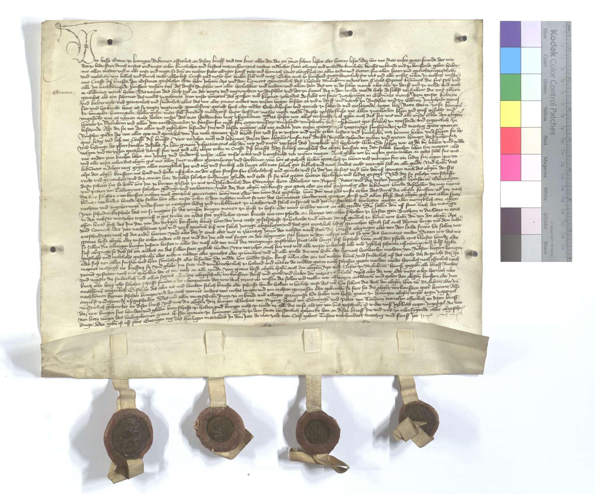 Graf Hesse von Leiningen verkauft dem Kloster Maulbronn das halbe Dorf Bauschlott mit der halben Vogtei und weiteren Gerechtsamen, des Waldfrevels, zwei Teilen des großen und kleinen Zehnten in Ölbronner Markung, sowie Kelter und Kelterrecht., Text