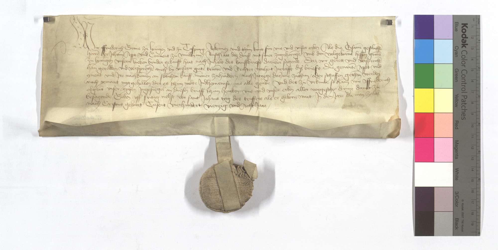 Graf Friedrich von Leiningens Bestätigung, dass Graf Hesse von Leiningen dem Kloster Maulbronn das halbe Dorf Bauschlott mit der halben Vogtei und weiteren Gerechtsamen, des Waldfrevels, zwei Teilen des großen und kleinen Zehnten in Ölbronner Markung, sowie Kelter und Kelterrecht verkauft habe., Text
