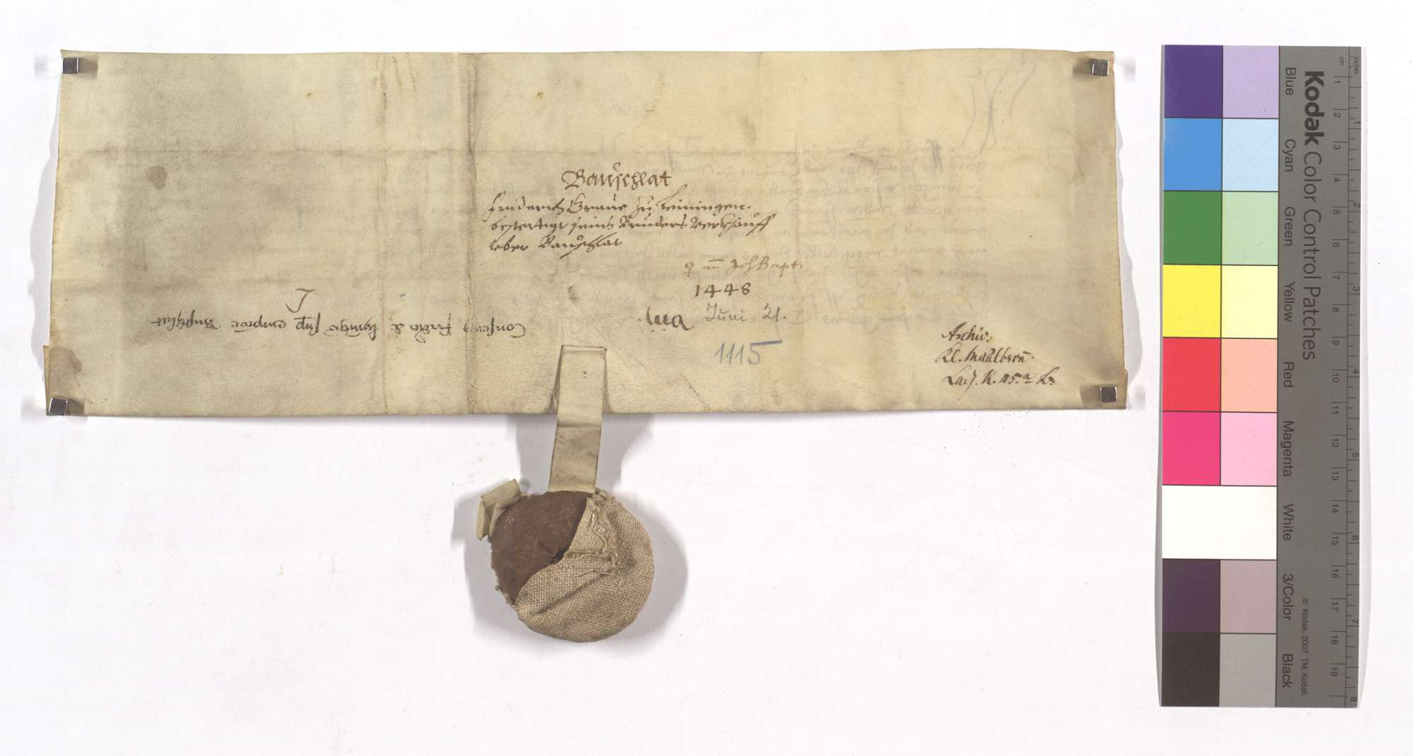 Graf Friedrich von Leiningens Bestätigung, dass Graf Hesse von Leiningen dem Kloster Maulbronn das halbe Dorf Bauschlott mit der halben Vogtei und weiteren Gerechtsamen, des Waldfrevels, zwei Teilen des großen und kleinen Zehnten in Ölbronner Markung, sowie Kelter und Kelterrecht verkauft habe., Rückseite