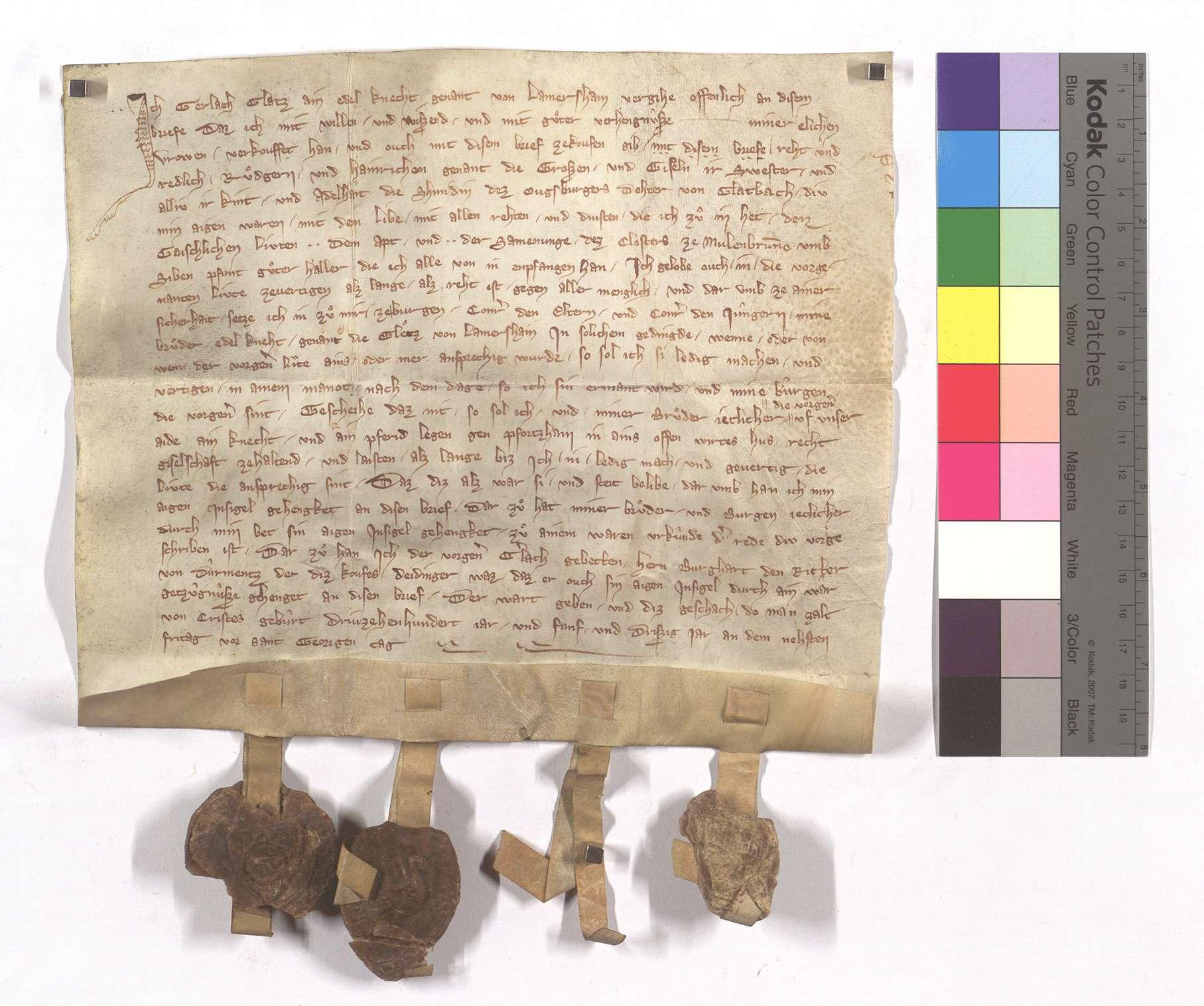Gerlach Glatz von Lomersheim verkauft dem Kloster Maulbronn seine Leibeigenen in Glattbach (Glatbach)., Text