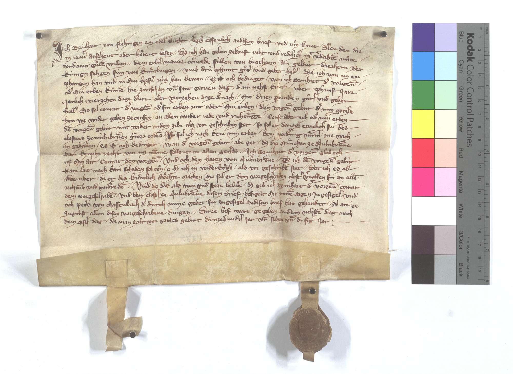 Fertigung des Reinhard von Flehingen um einen Leibeigenen in Knittlingen., Text