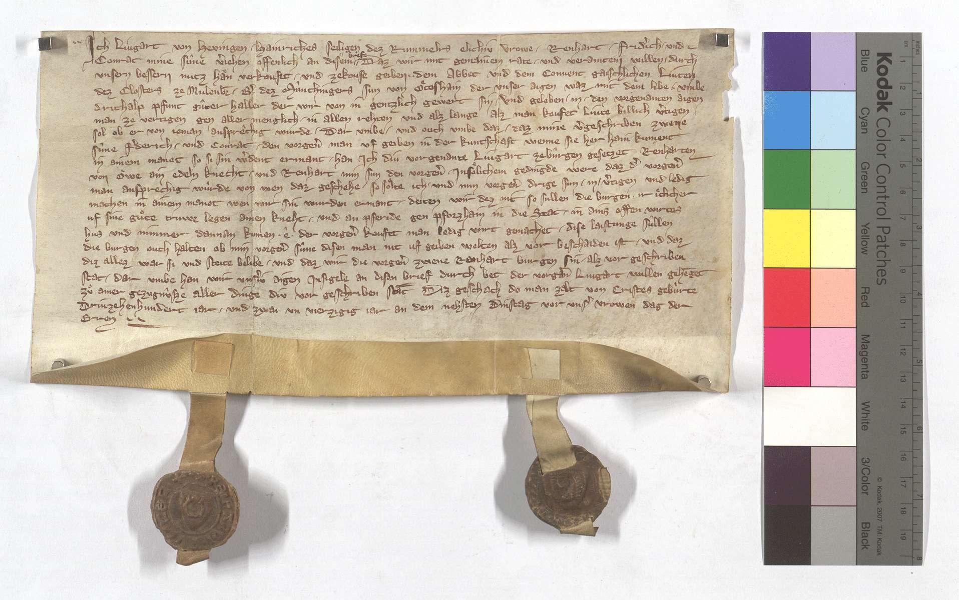 Lingart von Höfingen (Hevingen), [Heinrichs sel. des Rummlers Ehefrau], verkauft dem Kloster Maulbronn einen Leibeigenen in Ötisheim., Text