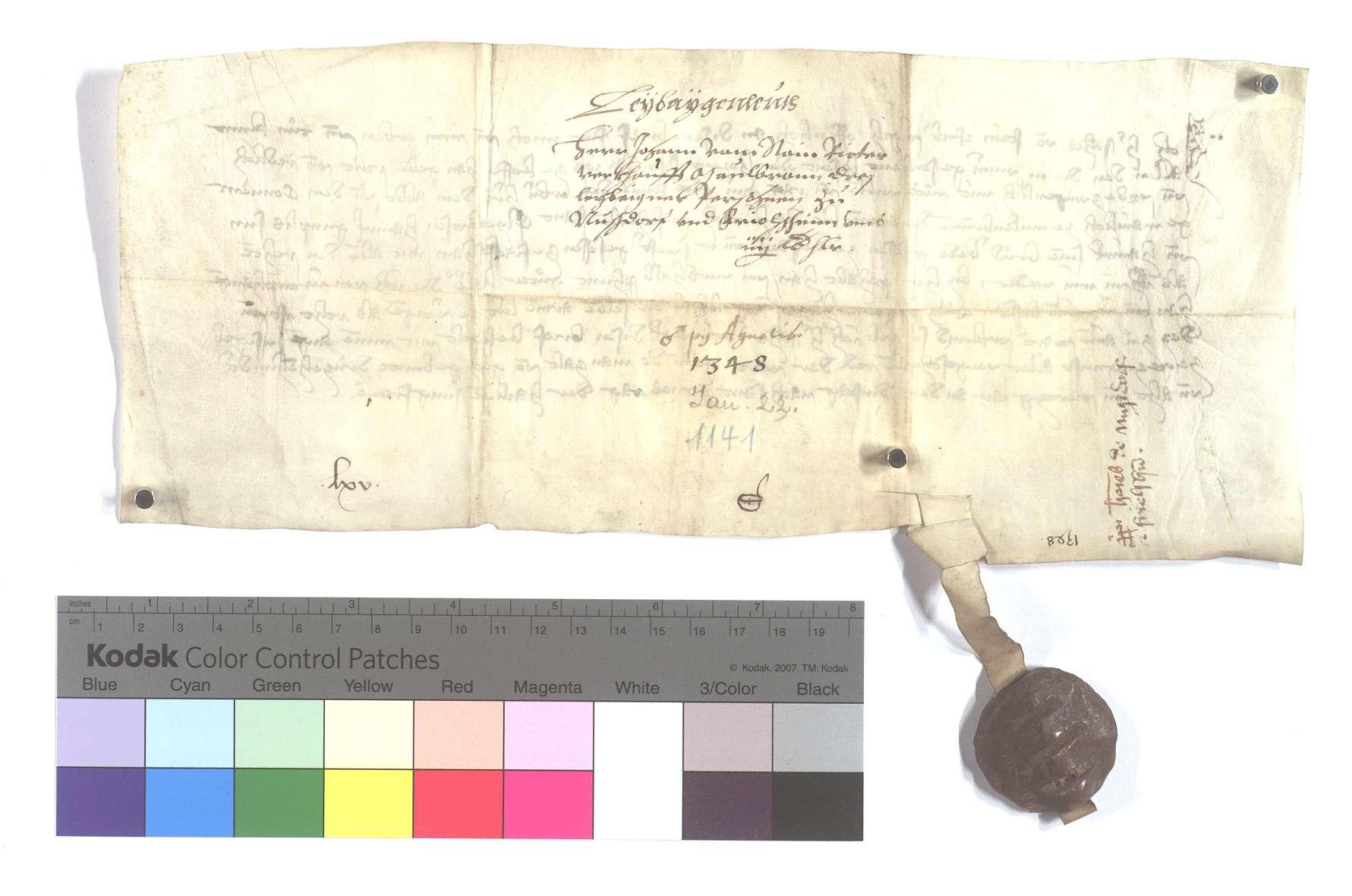 Fertigung des Johann vom Stein gegen das Kloster Maulbronn um drei Leibeigene zu Nußdorf und Friolzheim., Rückseite