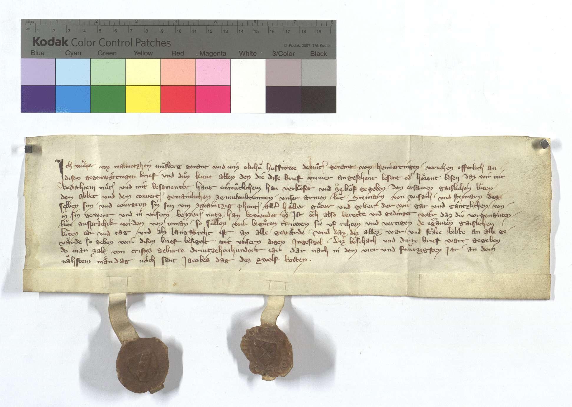Fertigung des Wernher von Malmsheim ( Malmorzheim) um drei Leibeigene in Weissach., Text