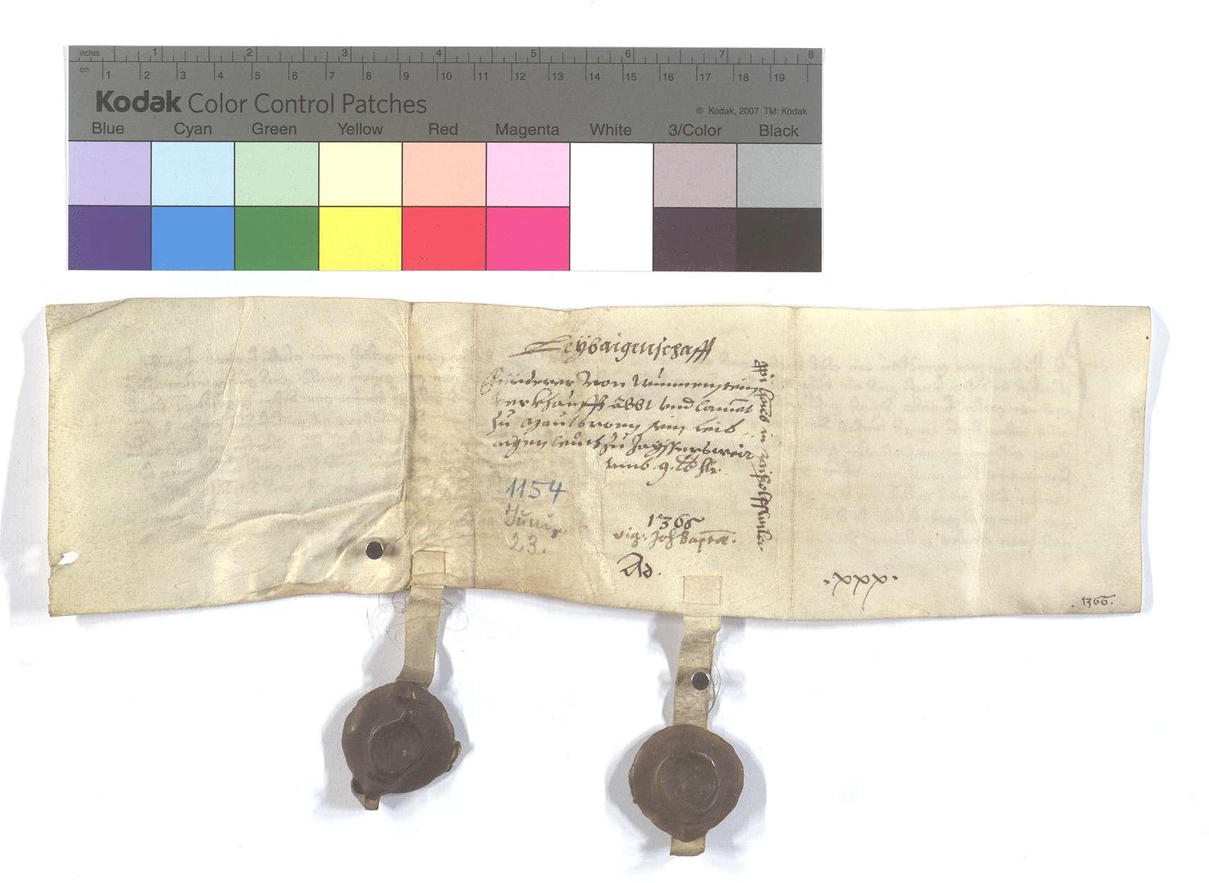 Fertigung des Fürderer von Wunnenstein (Wunnestein) um seine Leibeigenen in Zaisenhausen., Rückseite