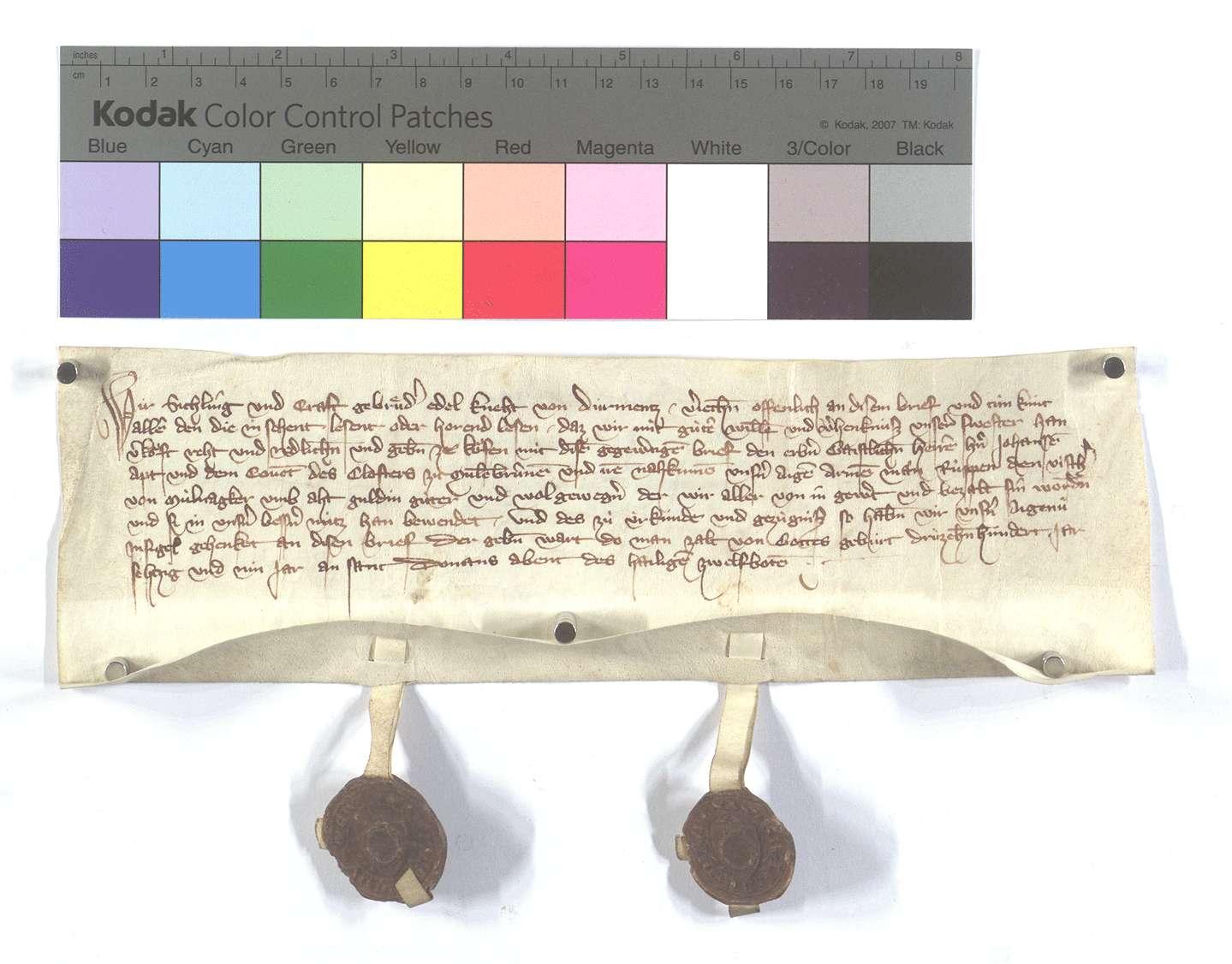 Fertigung der Gebrüder Sichling und Craft von Dürrmenz um einen Leibeigenen in Mühlacker (Mülacker)., Text