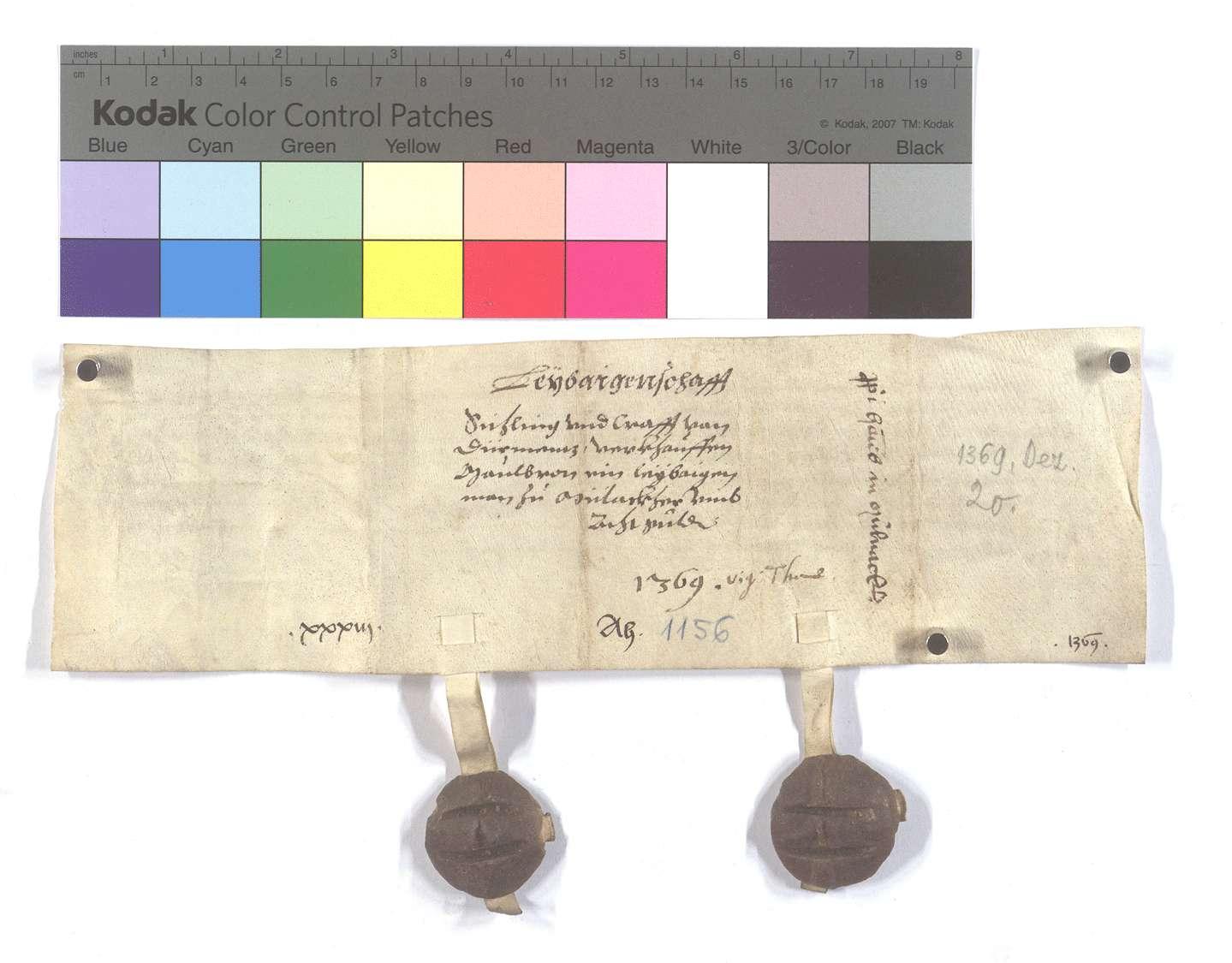 Fertigung der Gebrüder Sichling und Craft von Dürrmenz um einen Leibeigenen in Mühlacker (Mülacker)., Rückseite